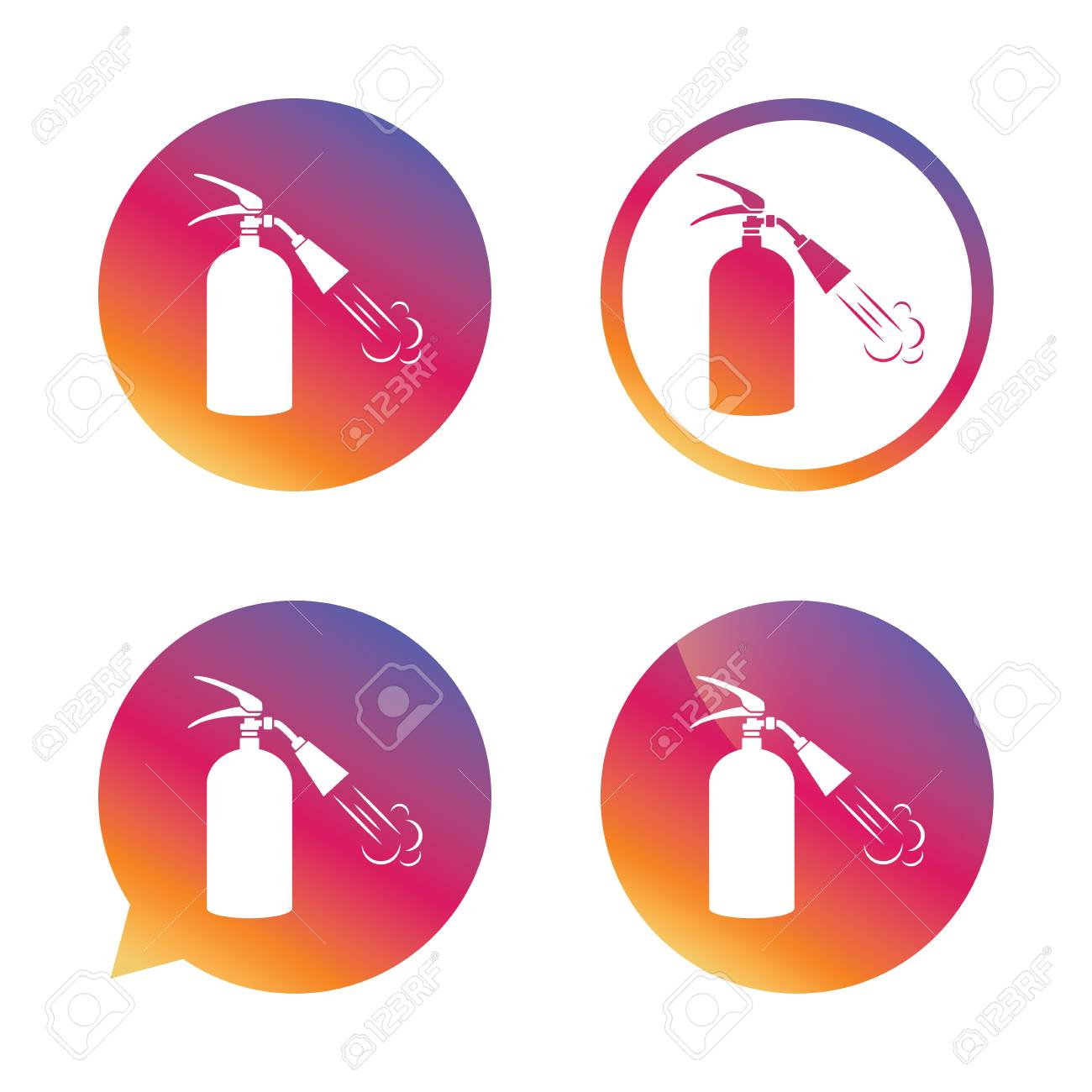 Fire Extinguisher Sign Icon Fire Safety Symbol Gradient Buttons
