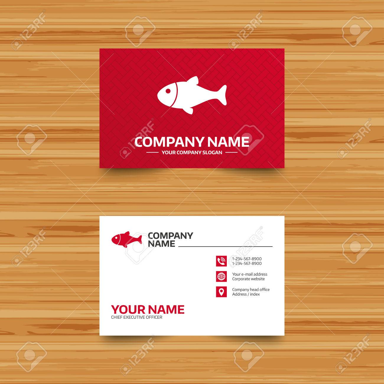 Business Card Template. Fish Sign Icon. Fishing Symbol. Phone ...