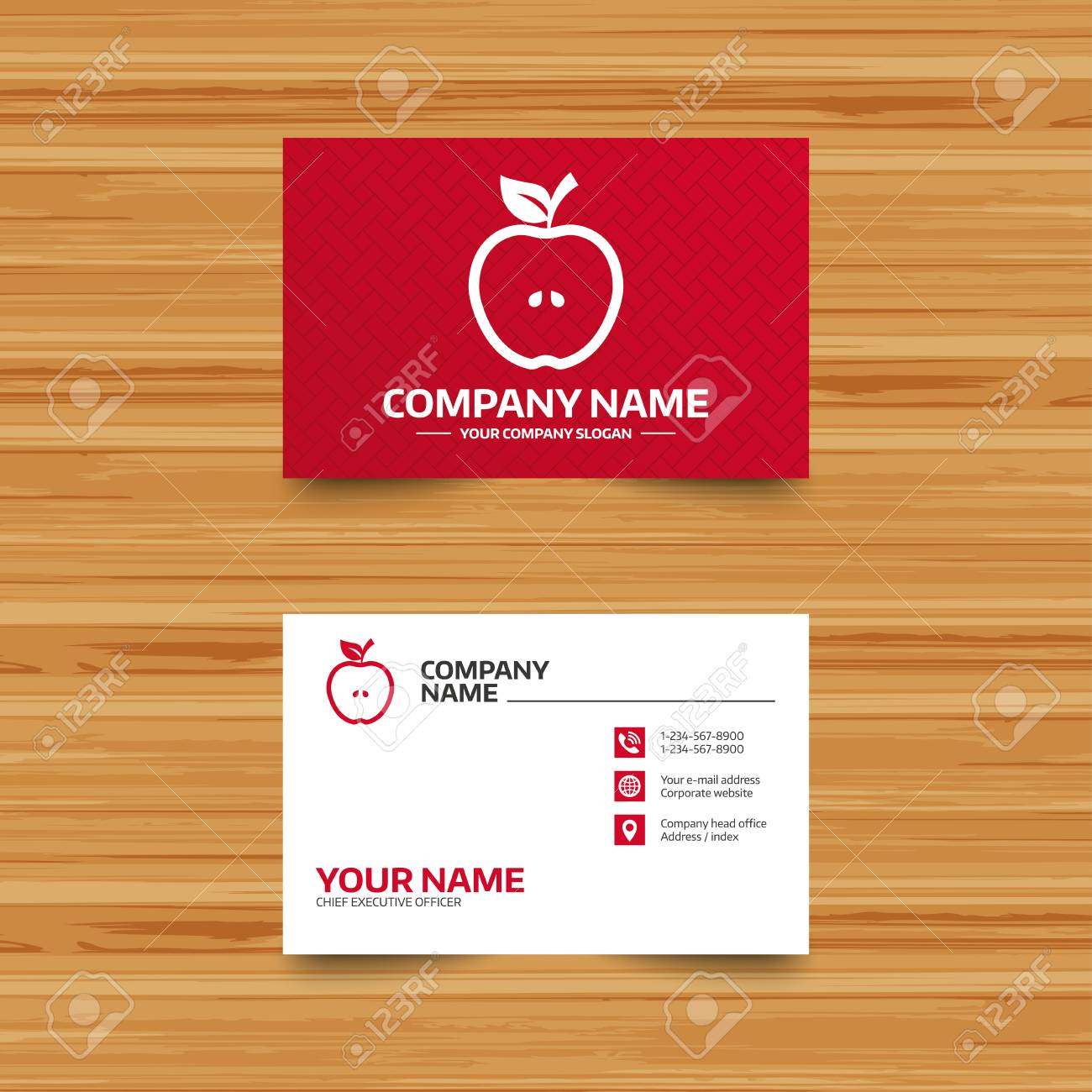 Business card template apple sign icon fruit with leaf symbol business card template apple sign icon fruit with leaf symbol phone globe reheart Choice Image