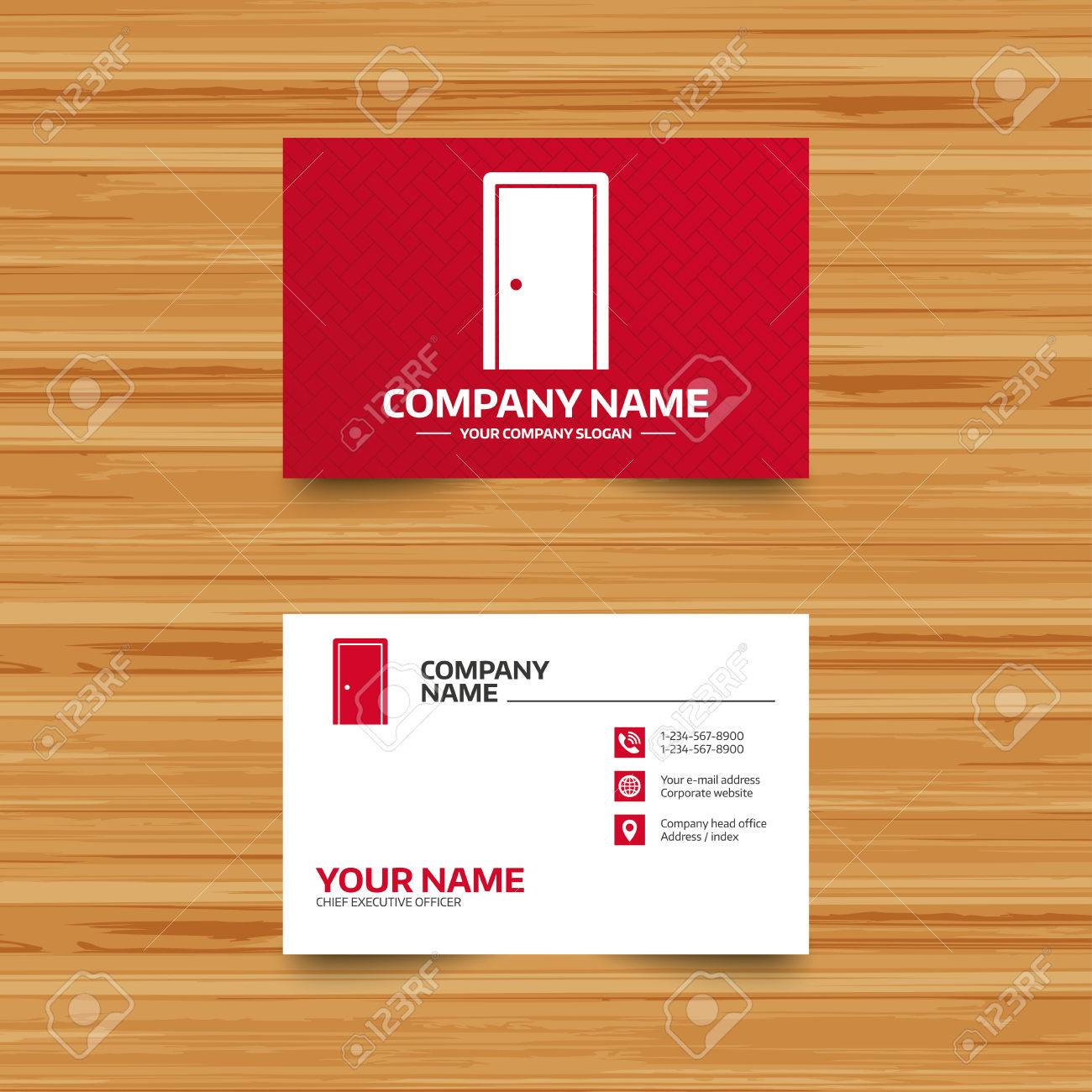 business card template door sign icon enter or exit symbol