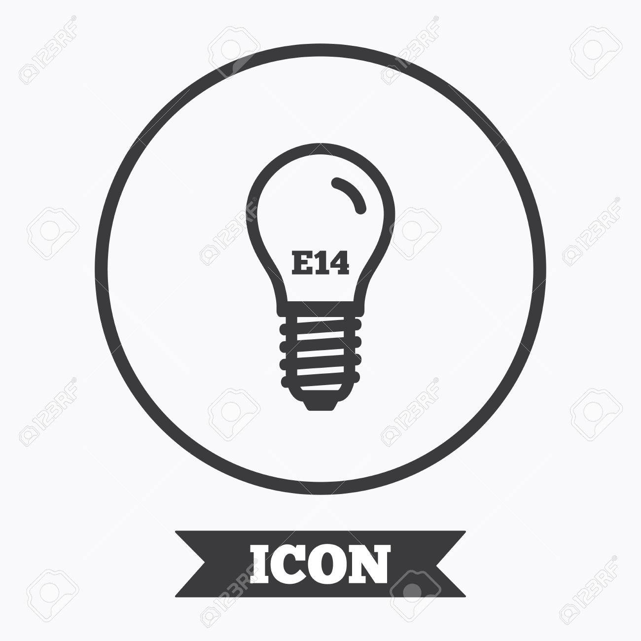Light Bulb Icon. Lamp E14 Screw Socket Symbol. Led Light Sign ...