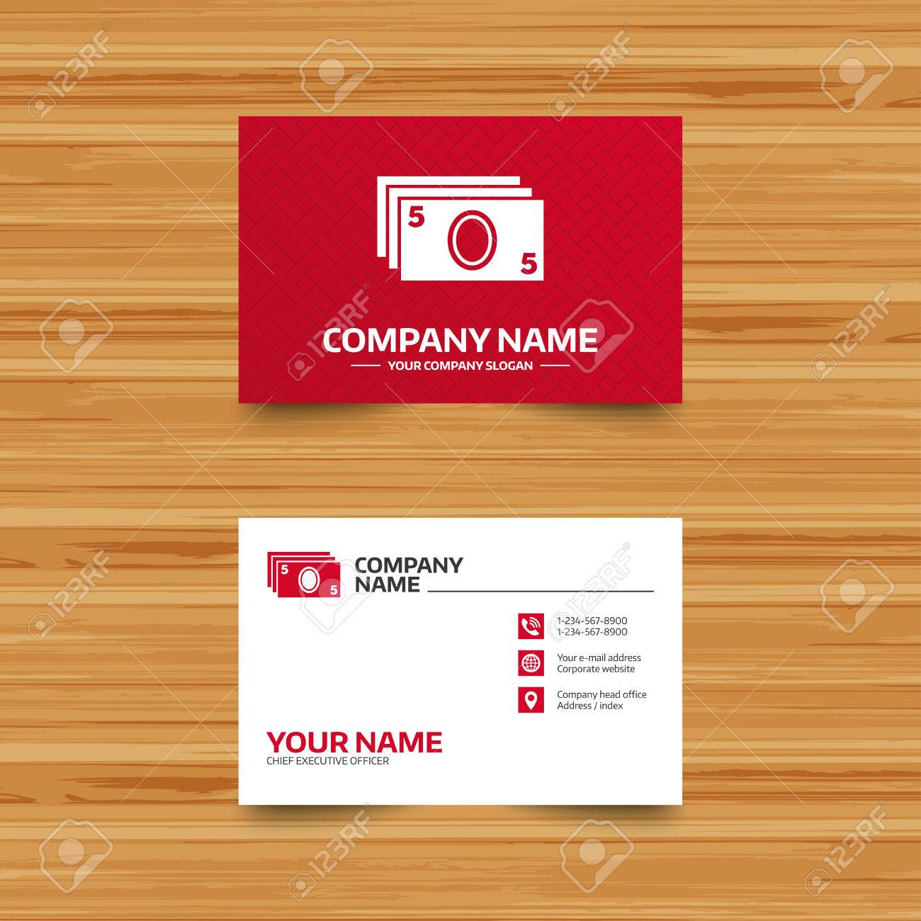 Business Card Template. Cash Sign Icon. Paper Money Symbol. For ...
