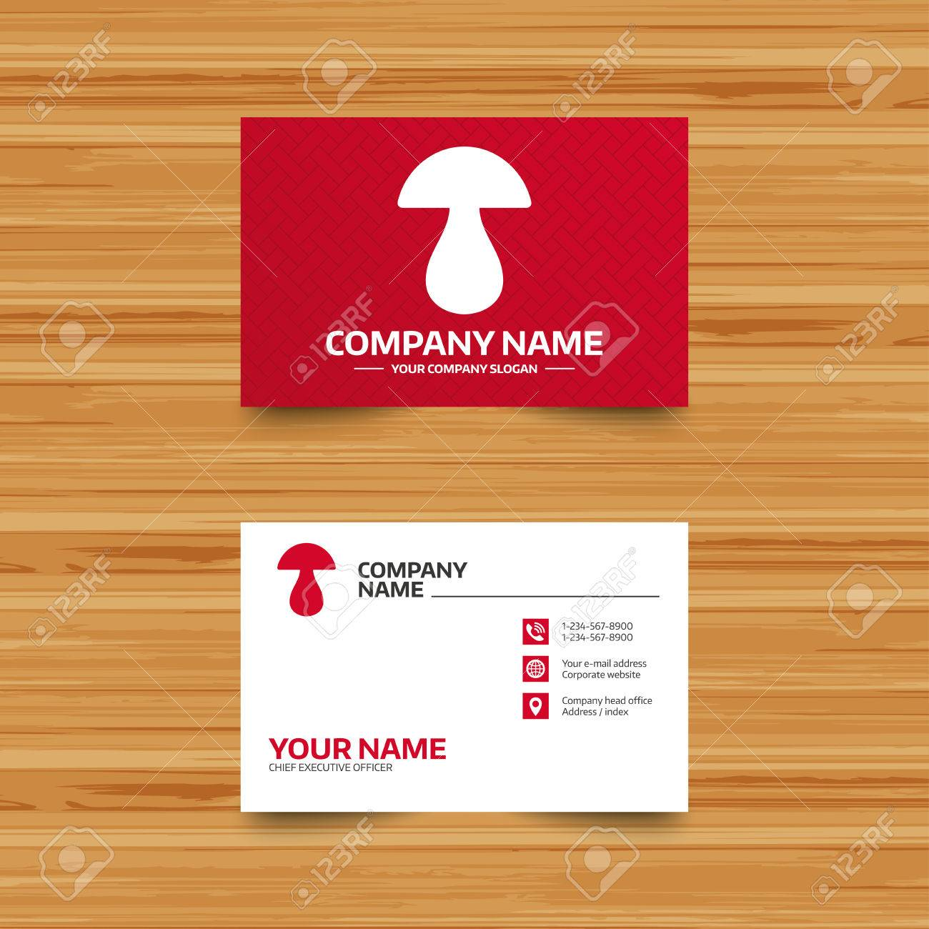 Business card template mushroom sign icon boletus mushroom business card template mushroom sign icon boletus mushroom symbol phone globe and reheart Gallery