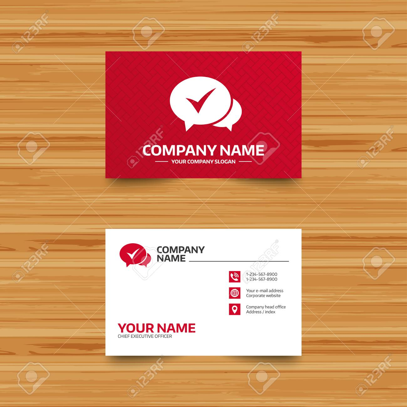 business card template check sign icon yes or tick symbol
