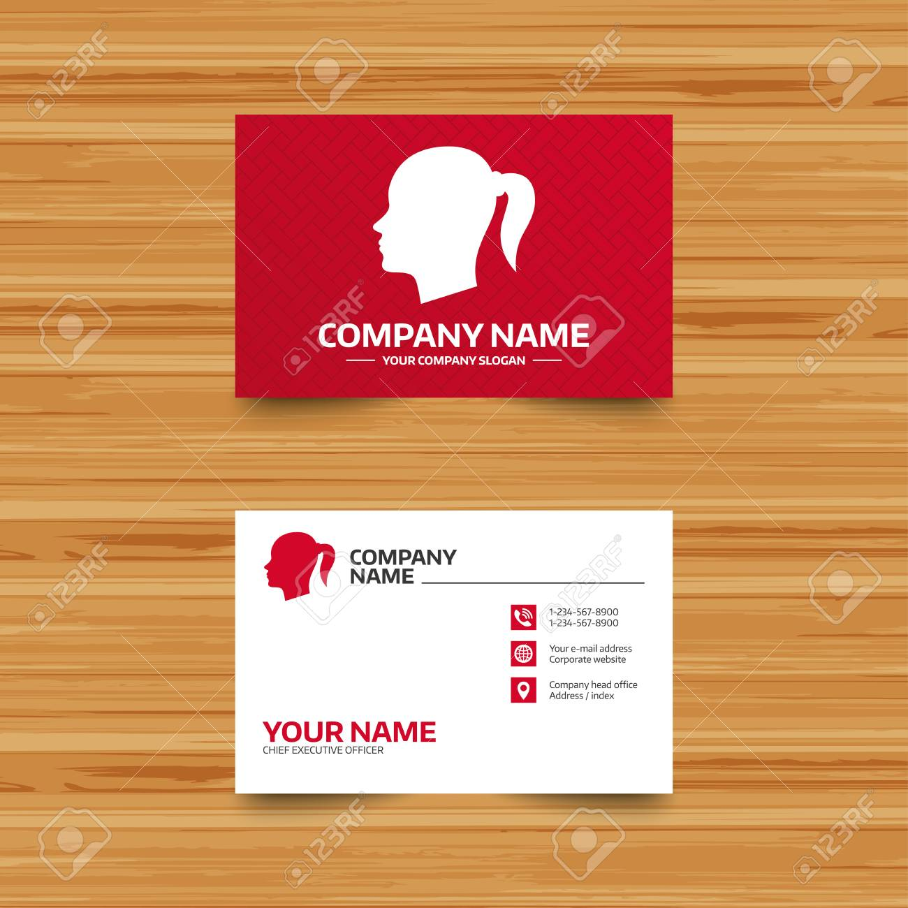 Business card template head sign icon female woman human head business card template head sign icon female woman human head with pigtail symbol reheart Images