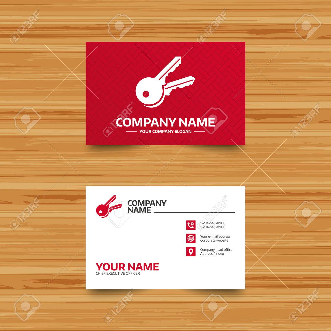 Business Card Template Keys Sign Icon Unlock Tool Symbol Phone