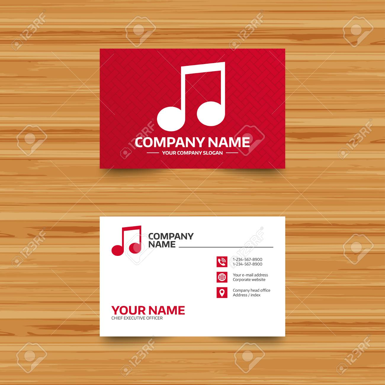 Business Card Template. Music Note Sign Icon. Musical Symbol ...