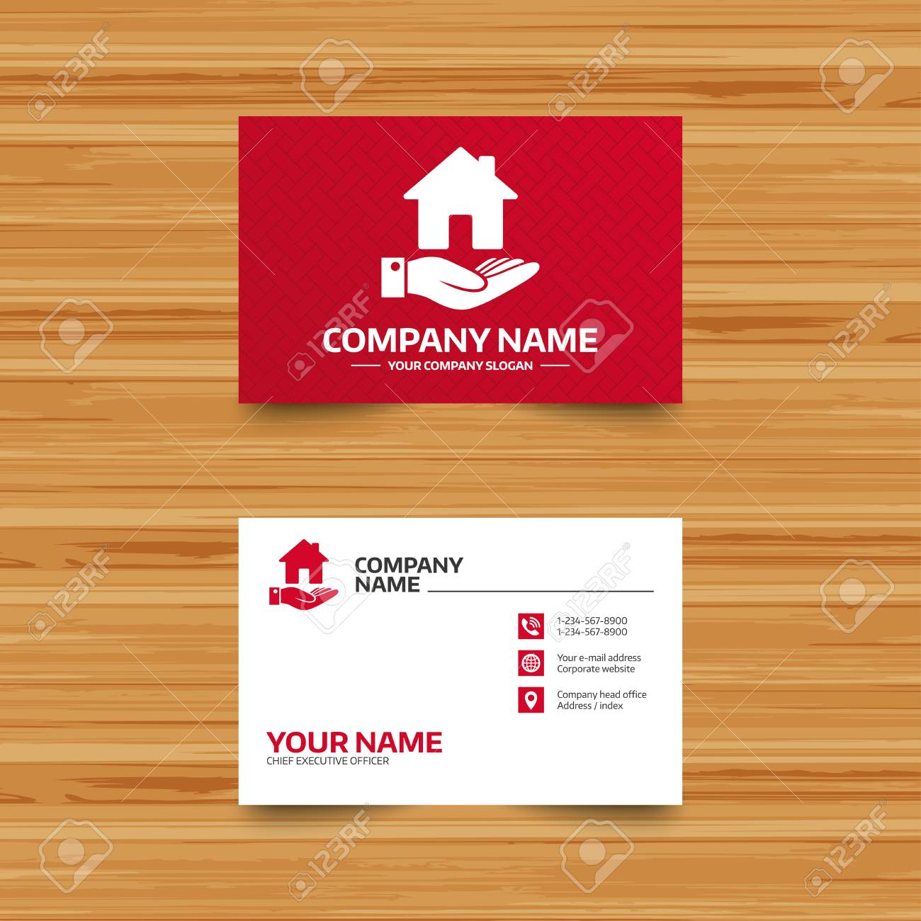 Business Card Template Home And Hand Sign Icon Palm Holds House