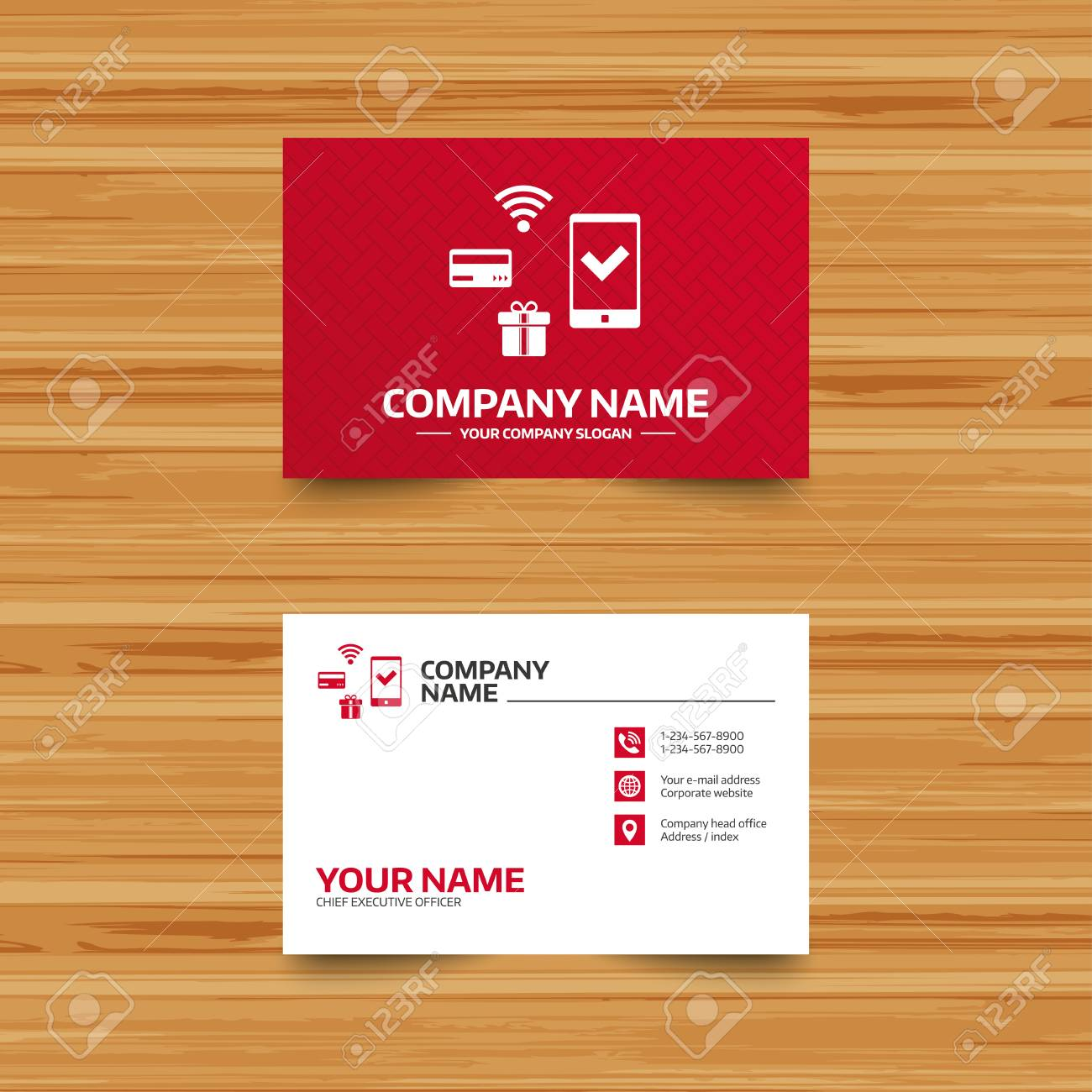 Business Card Template Wireless Mobile Payments Icon Smartphone