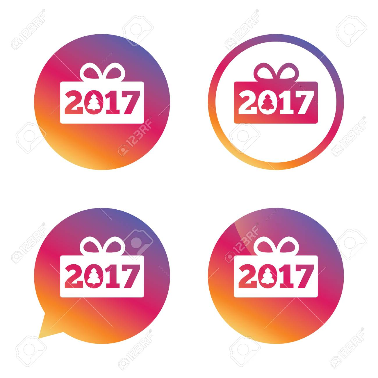 Happy New Year 2017 Sign Icon. Christmas Gift Anf Tree. Gradient ...