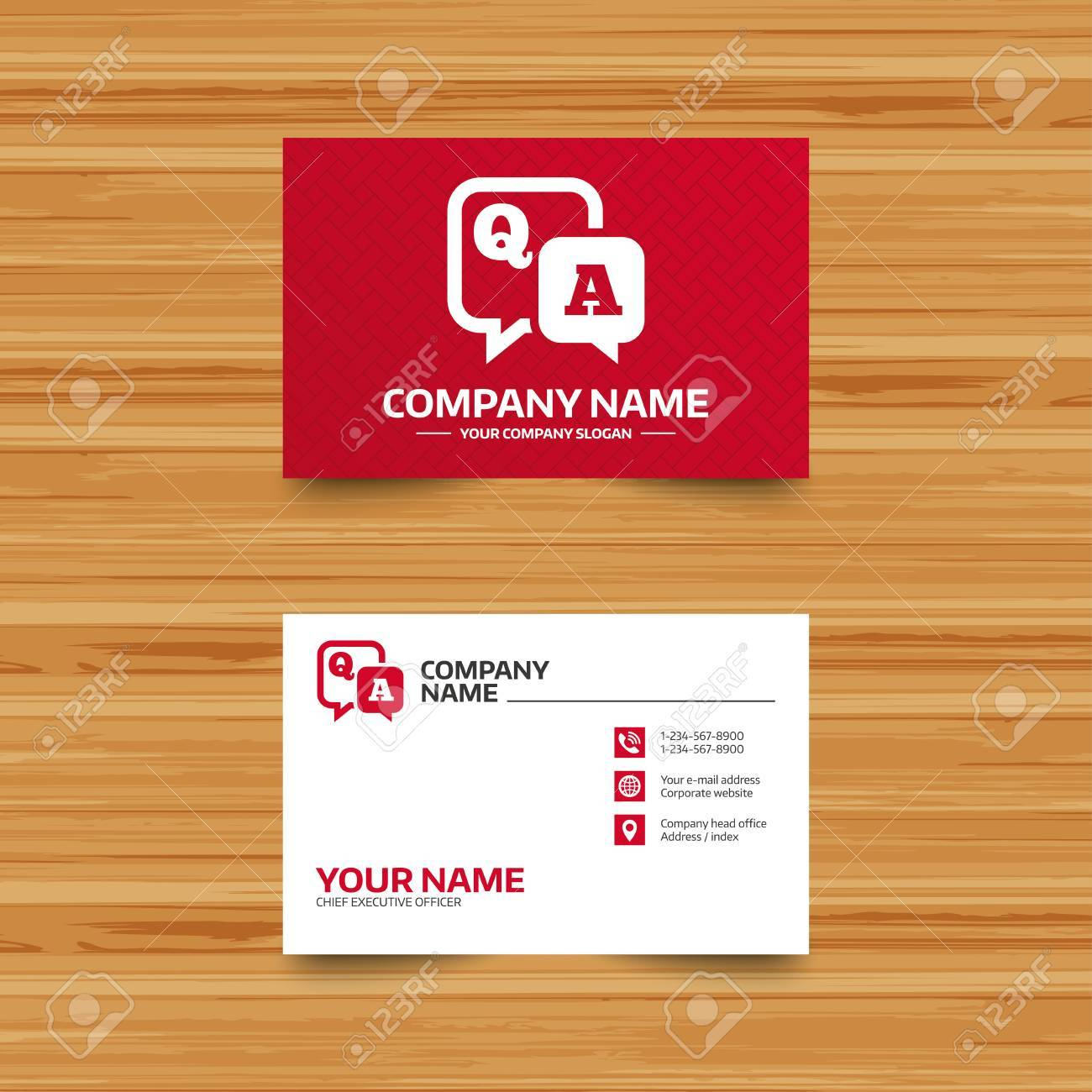 Business card template question answer sign icon qa symbol business card template question answer sign icon qa symbol phone globe and reheart Images