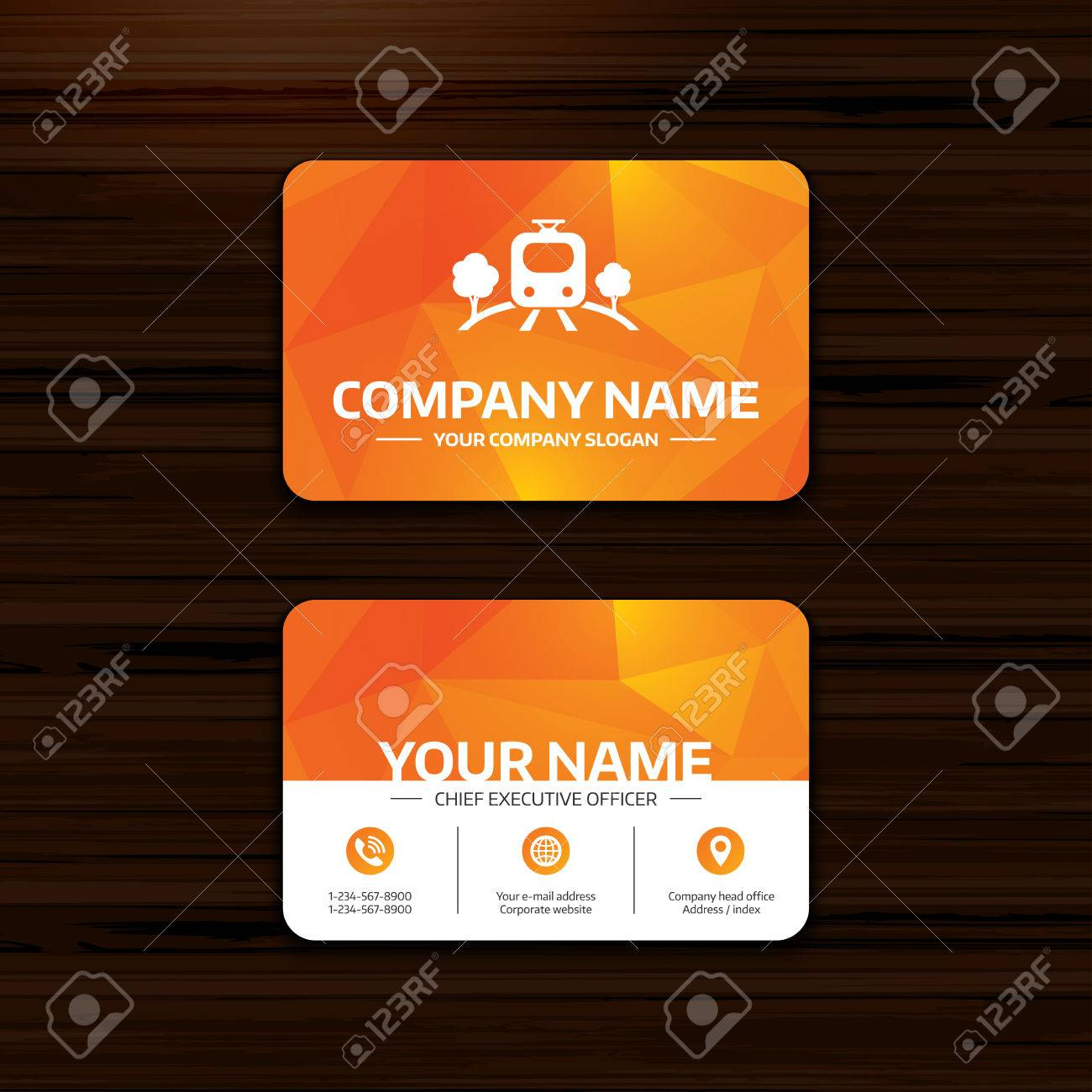 Business Or Visiting Card Template. Overground Subway Sign Icon ...