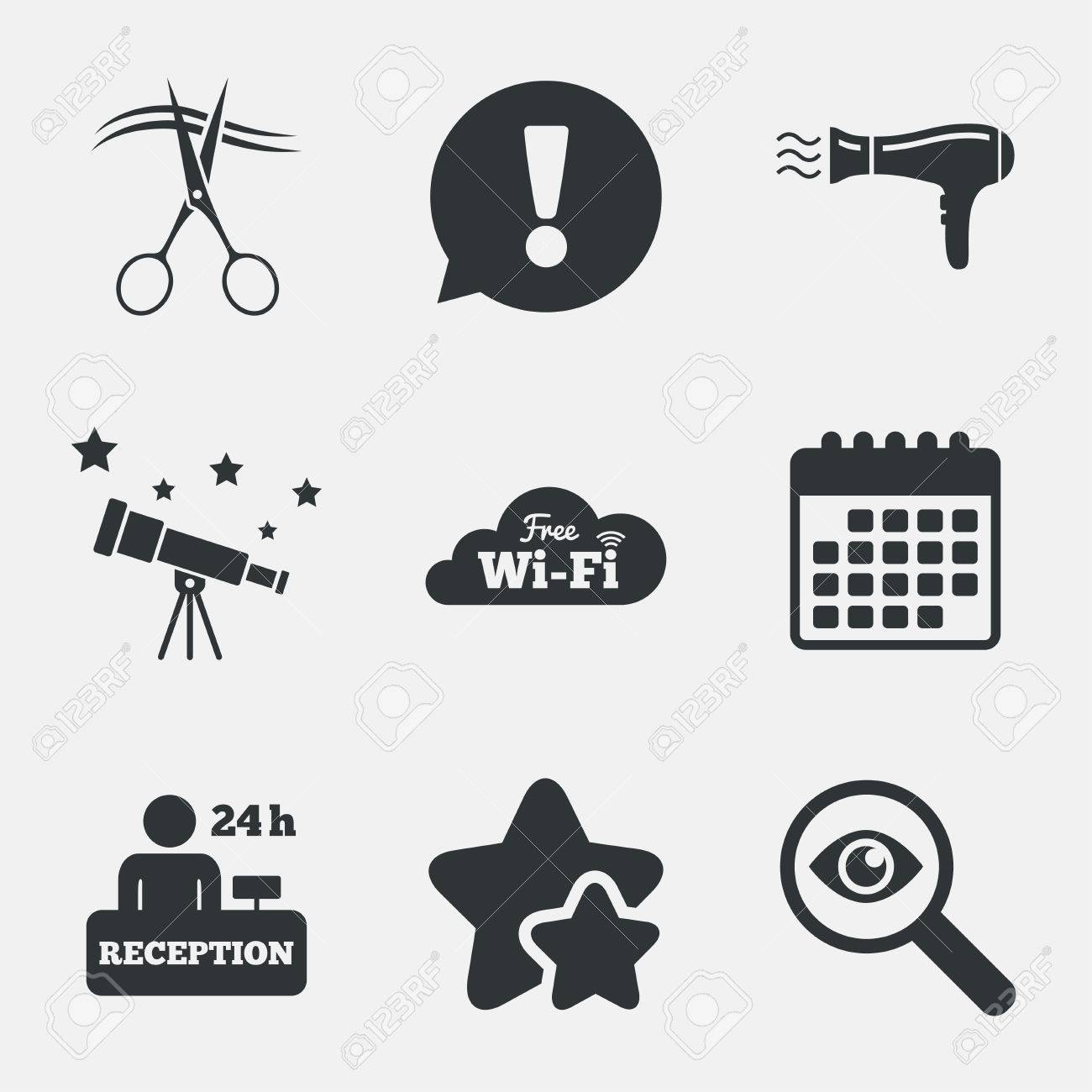 Icônes de services de l'hôtel. Wifi, sèche cheveux dans les signes de la chambre. Réseau sans fil. Coiffeur ou symbole de salon de coiffure. table
