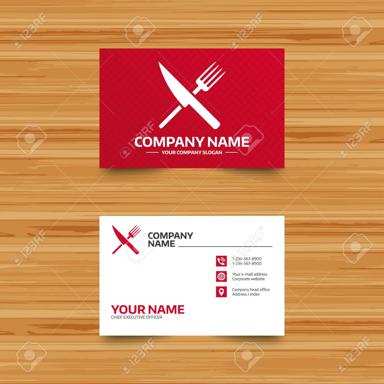 Business card template food sign icon cutlery symbol knife business card template food sign icon cutlery symbol knife and fork phone colourmoves