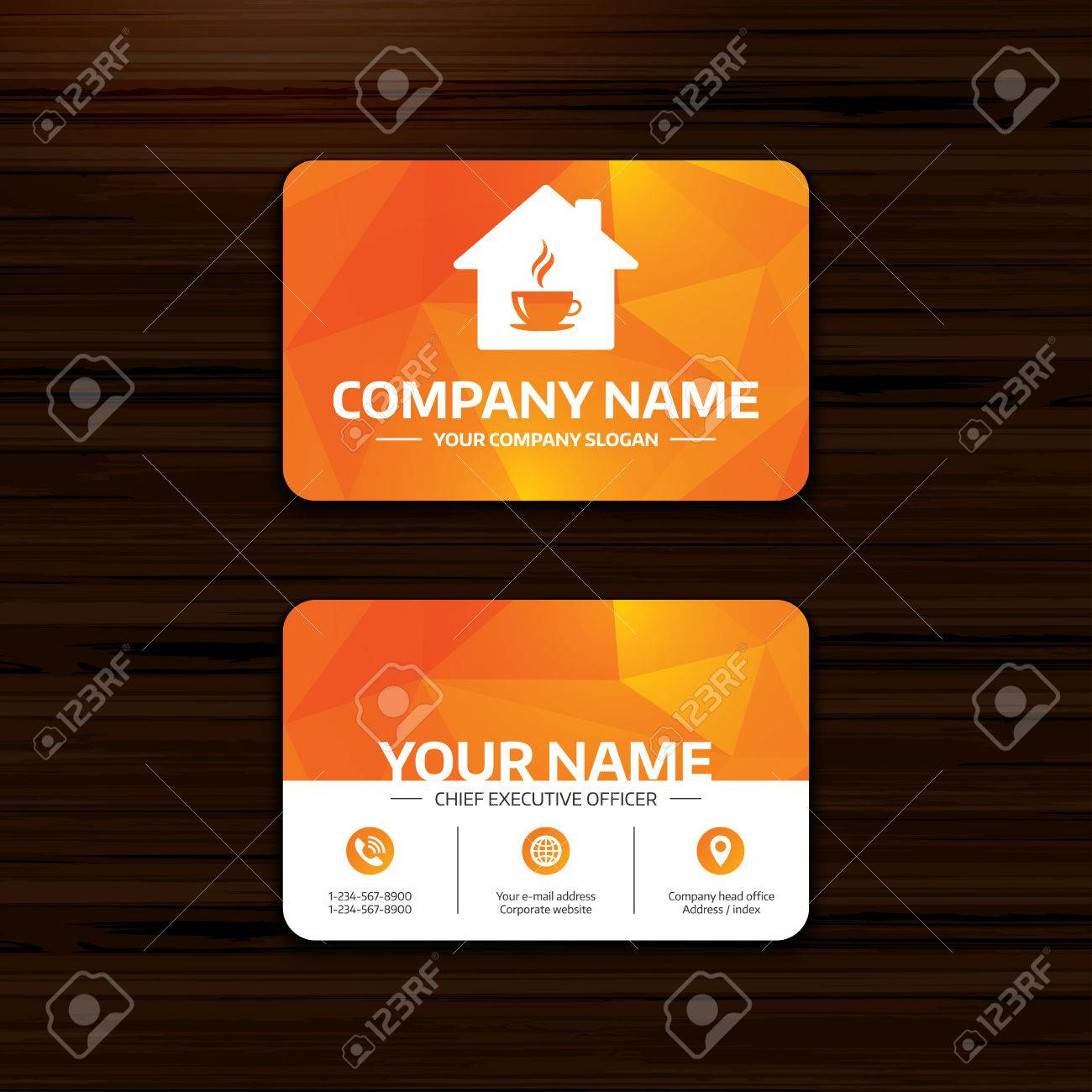 Business or visiting card template coffee shop icon hot coffee business or visiting card template coffee shop icon hot coffee cup sign hot wajeb