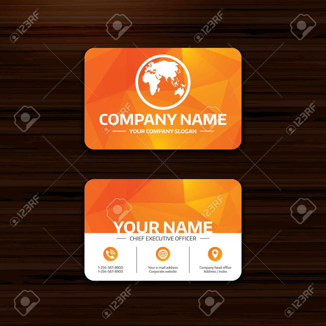 Business or visiting card template globe sign icon world map business or visiting card template globe sign icon world map geography symbol phone publicscrutiny Images