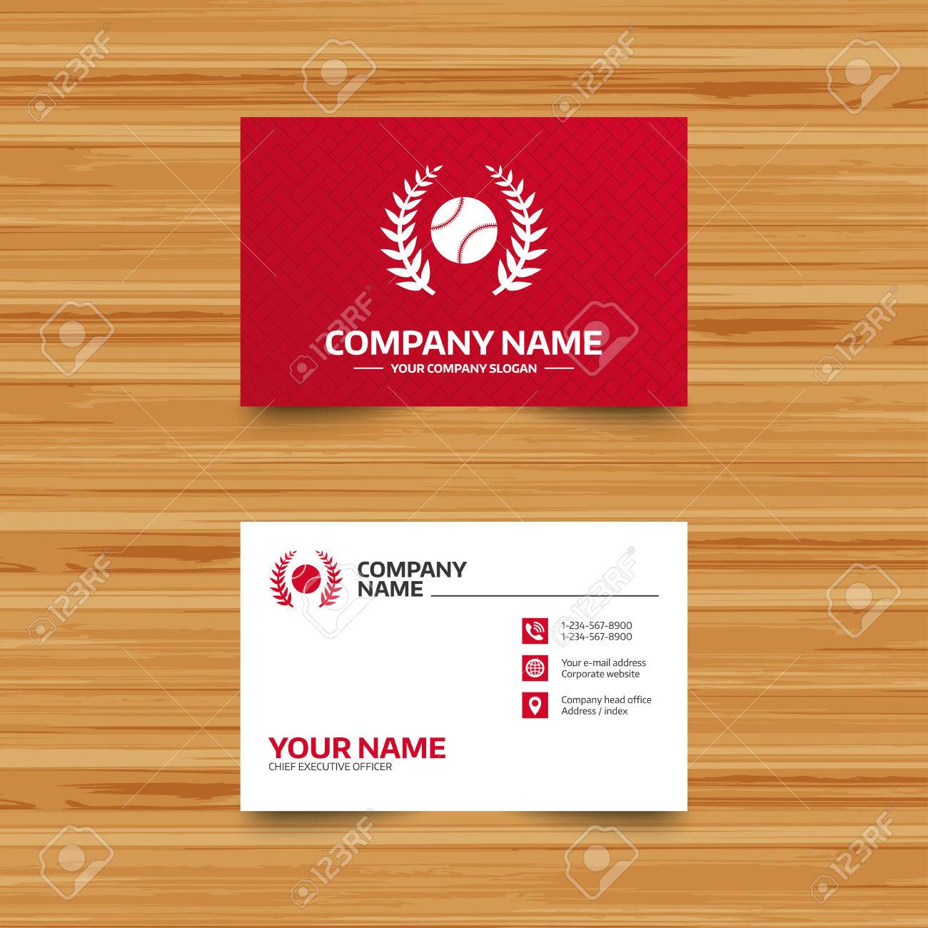 Business Card Template Baseball Sign Icon Sport Laurel Wreath
