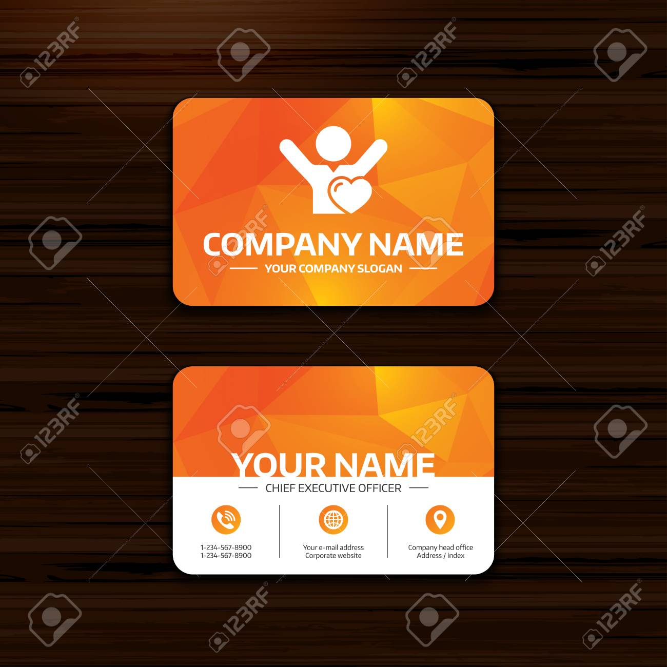 business or visiting card template fans love icon man raised