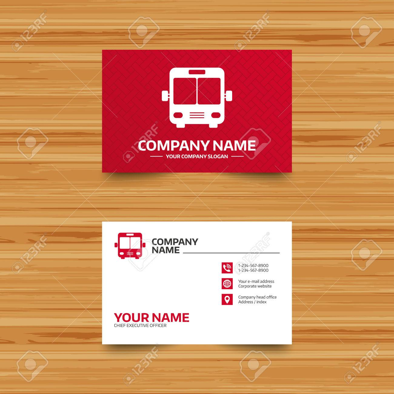 Business card template bus sign icon public transport symbol business card template bus sign icon public transport symbol phone globe and fbccfo Images
