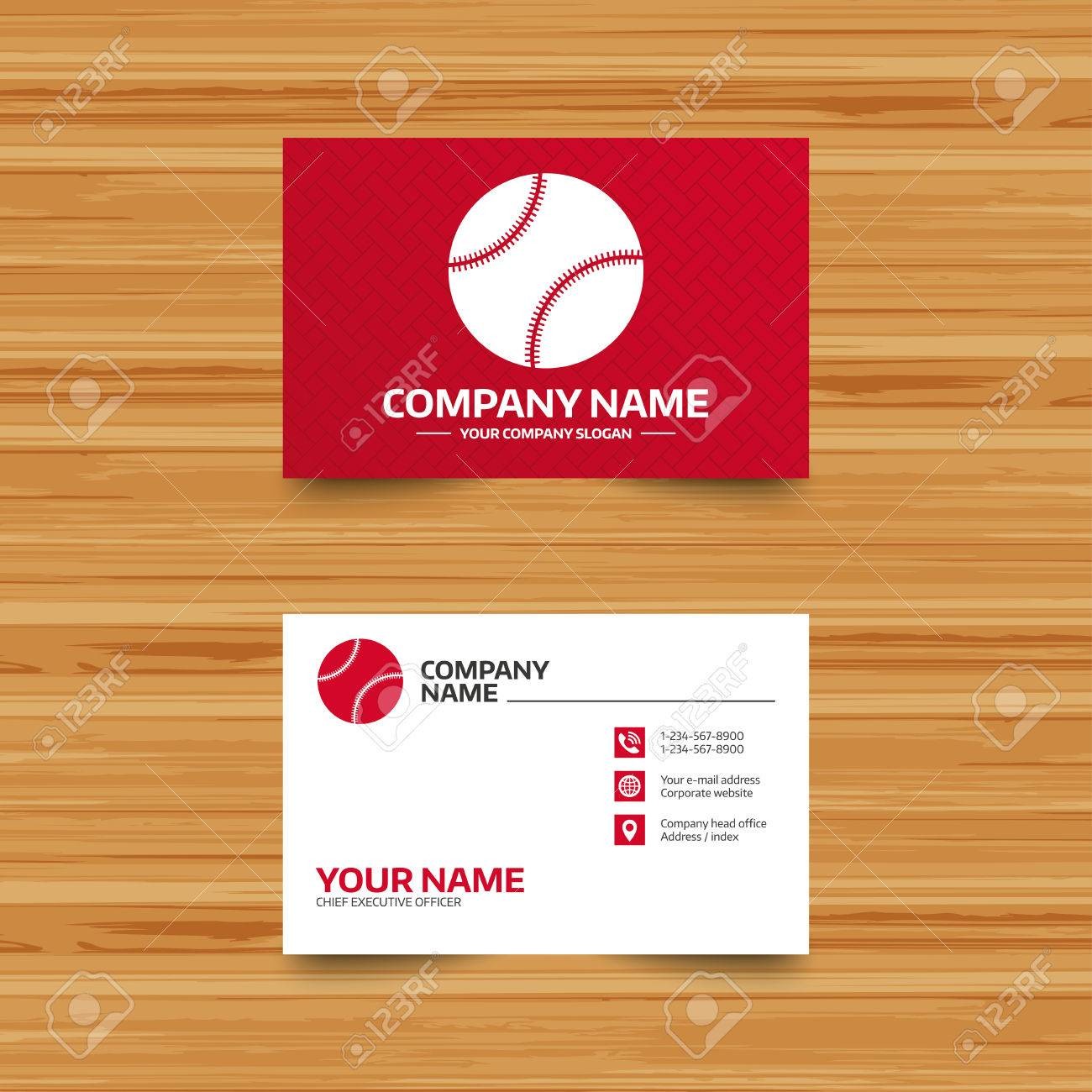 Business card template baseball ball sign icon sport symbol business card template baseball ball sign icon sport symbol phone globe and colourmoves