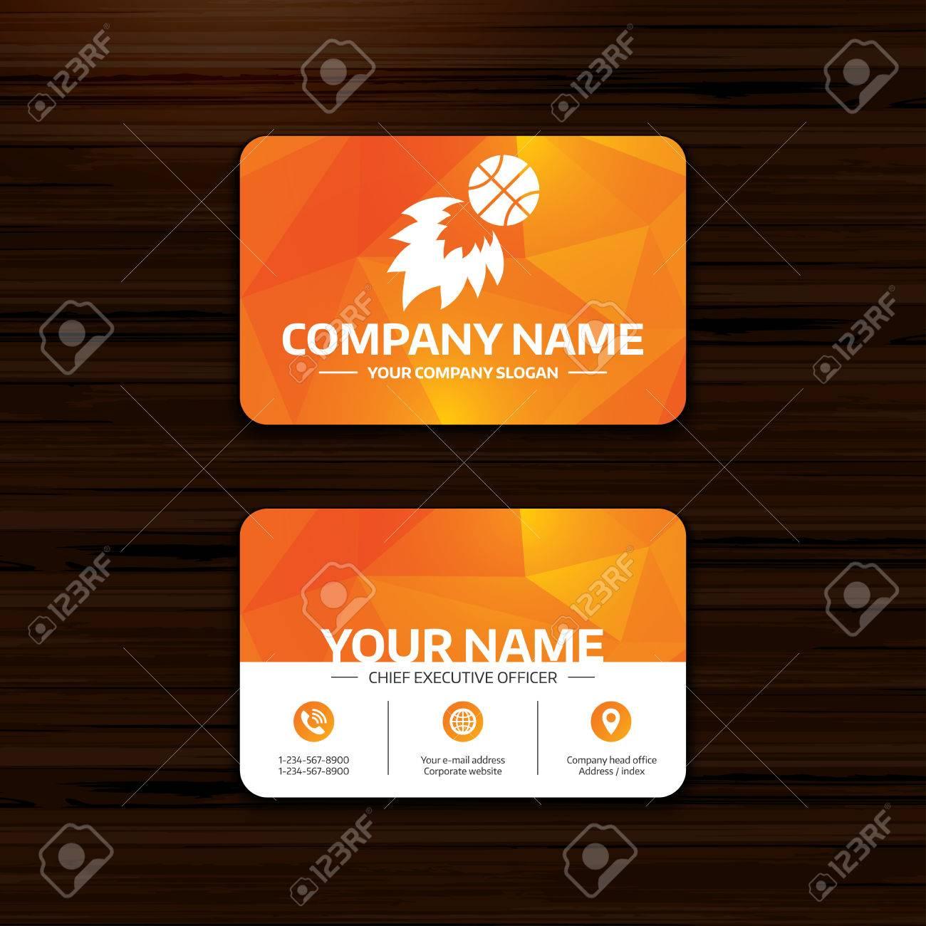 Business Or Visiting Card Template. Basketball Fireball Sign ...