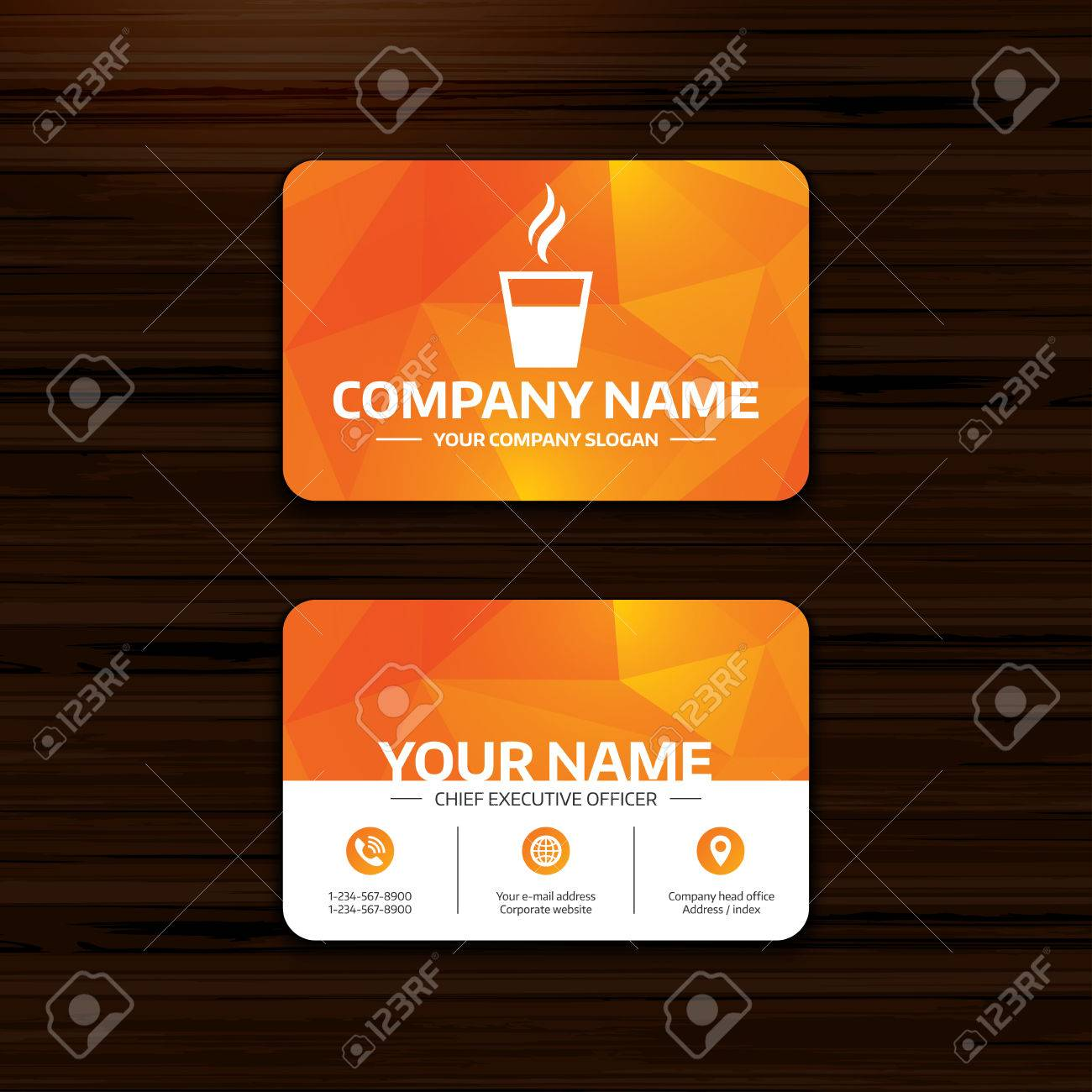 Business Or Visiting Card Template Coffee Glass Sign Icon Hot - Coffee business card template free