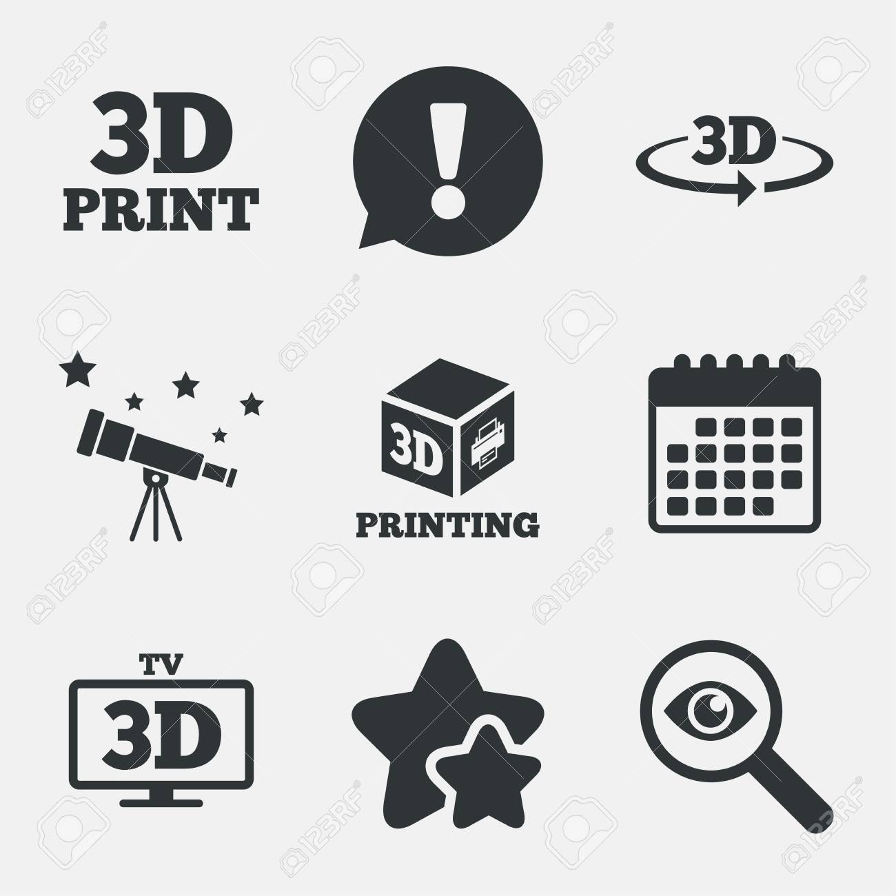 3d Technology Icons Printer Rotation Arrow Sign Symbols Print