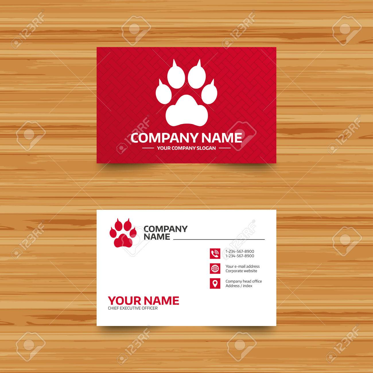 Business Card Template. Dog Paw With Clutches Sign Icon. Pets ...