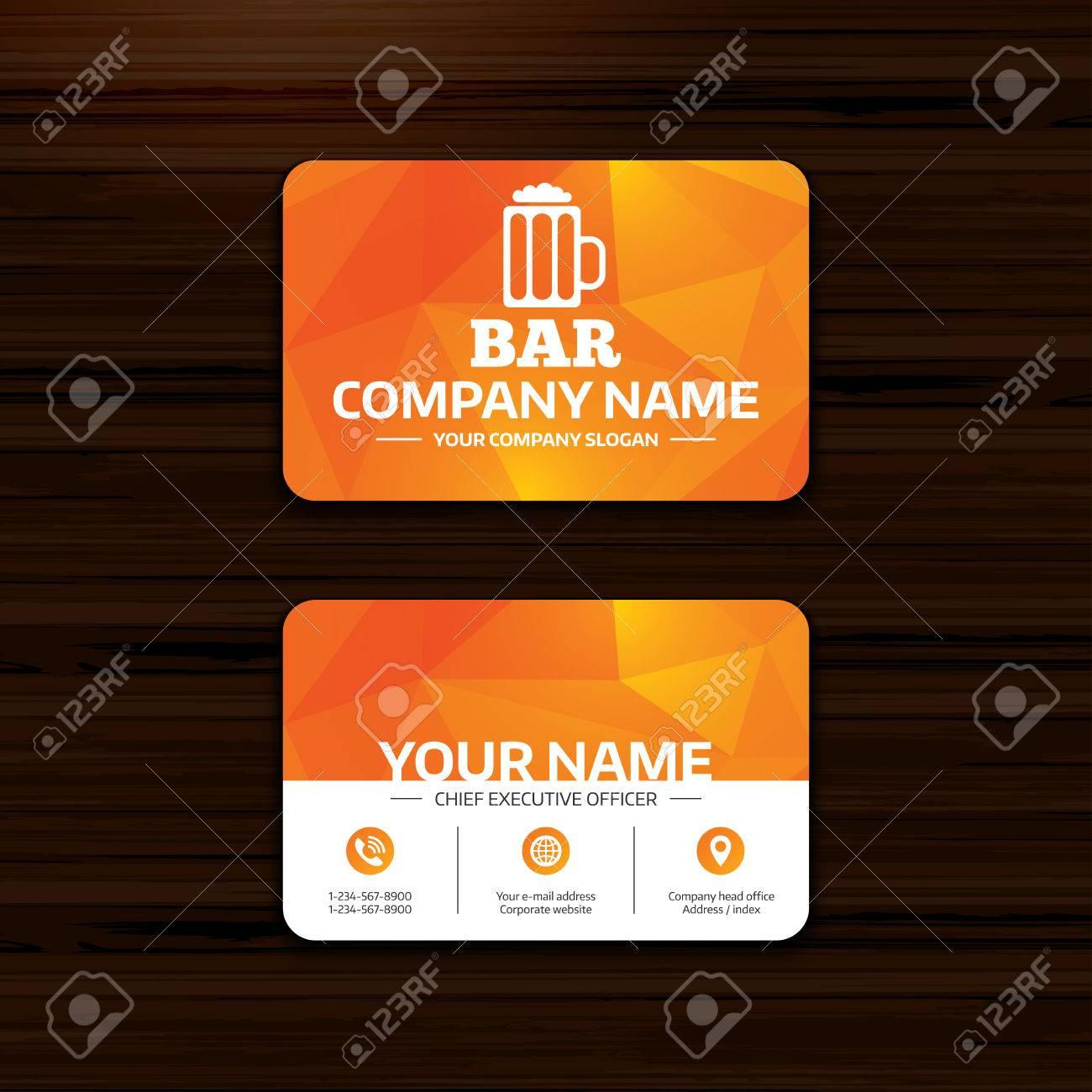 Daffaires Ou En Visite Modele De Carte Bar Signe Pub Icone