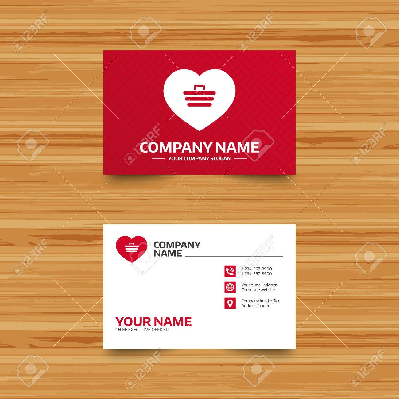 business card template love shopping cart sign icon online
