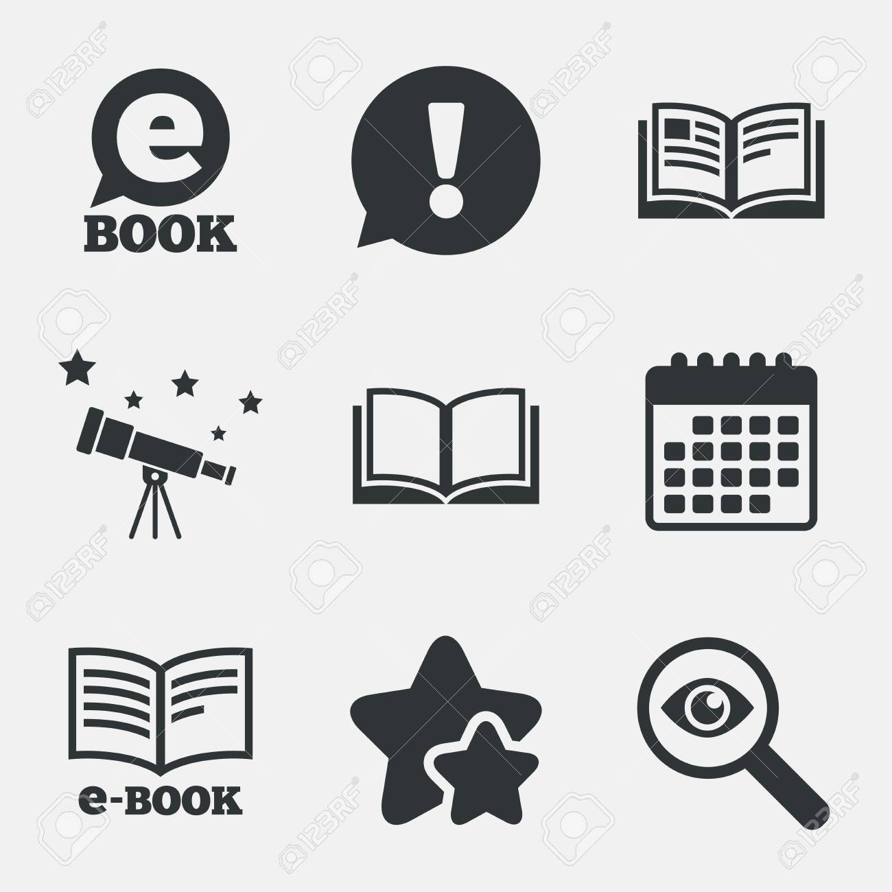 Electronic Book Icons. E-Book Symbols. Speech Bubble Sign. Attention ...