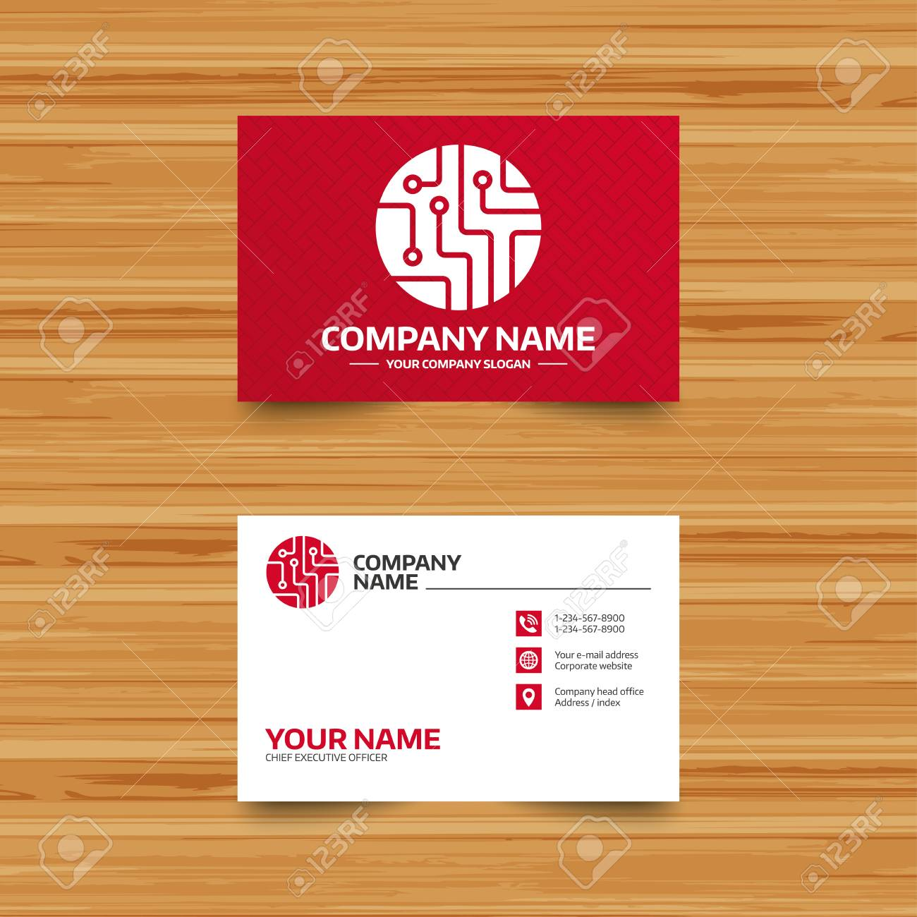 Business Card Template. Circuit Board Sign Icon. Technology Scheme ...