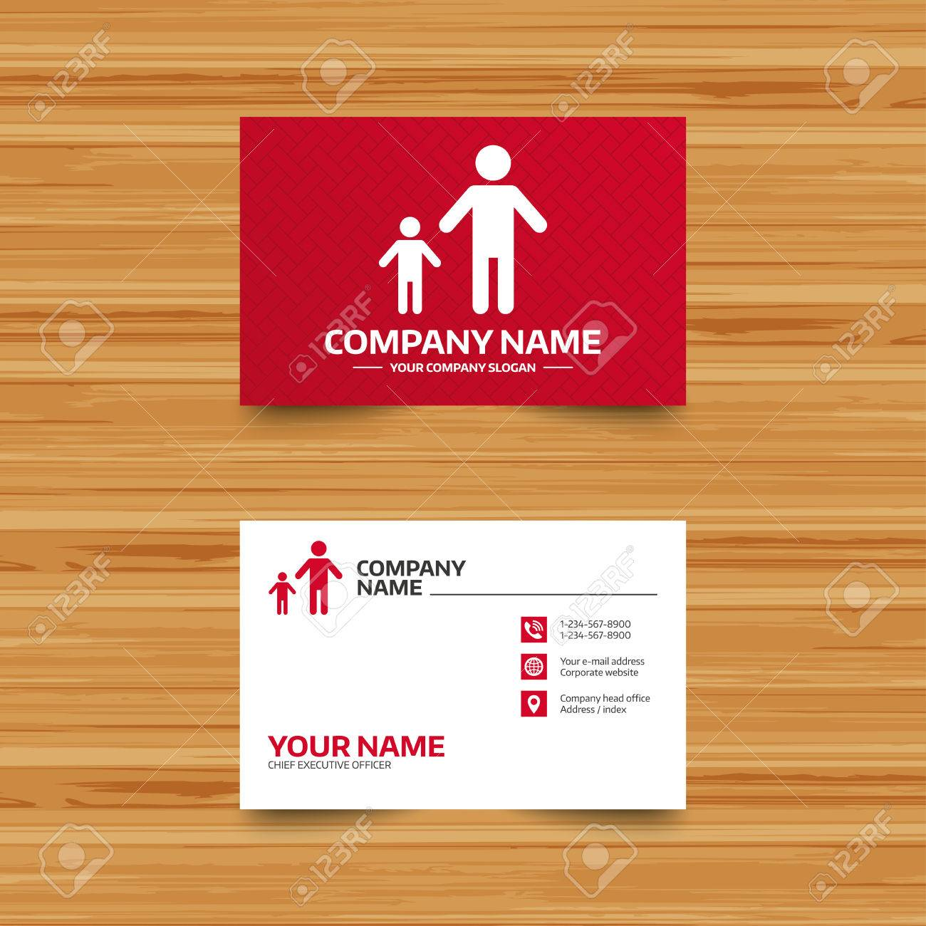 Business Card Template. One-parent Family With One Child Sign ...
