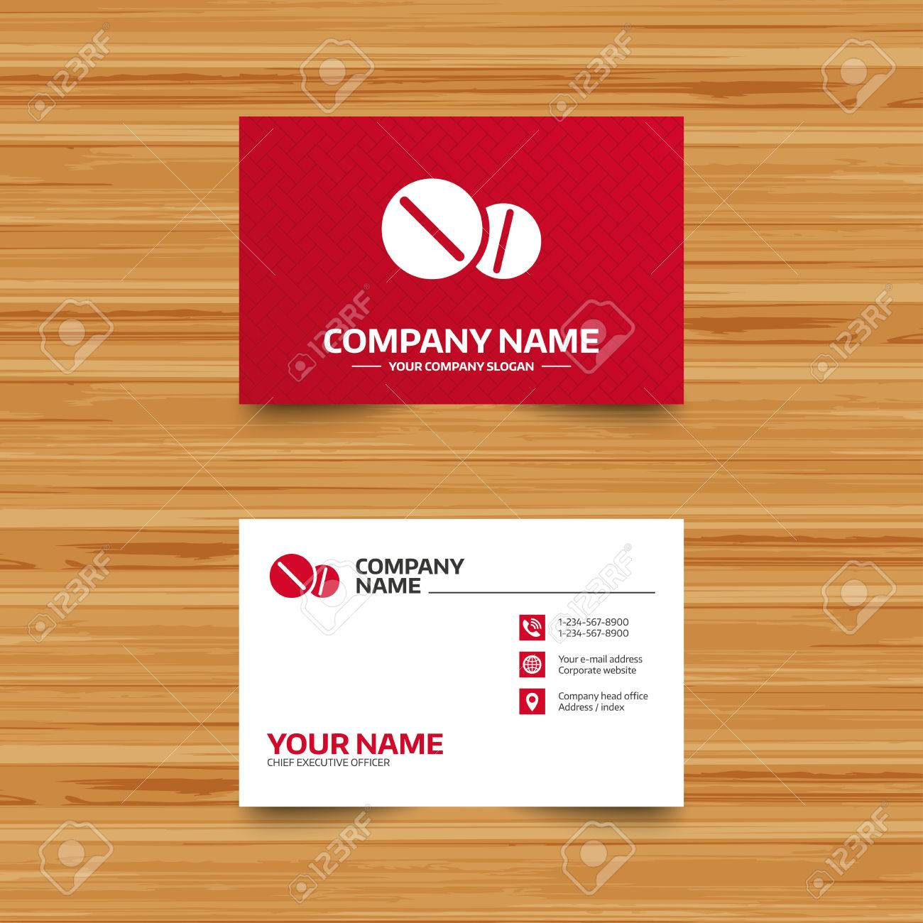 Business Card Template. Medical Tablets Sign Icon. Pharmacy Medicine ...