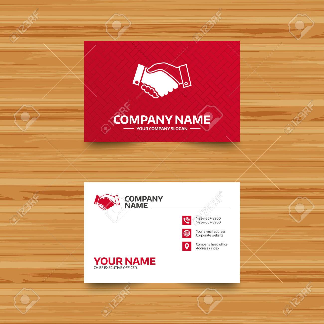 Business Card Template. Handshake Sign Icon. Successful Business ...