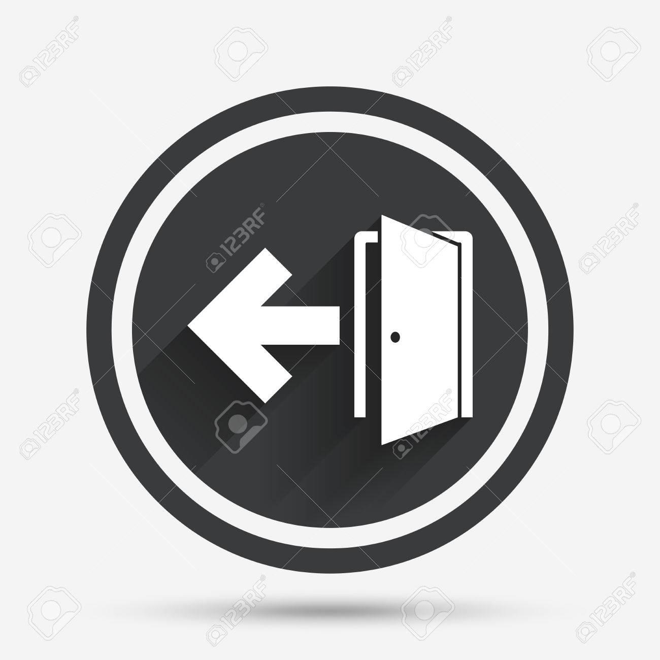 Emergency Exit Sign Icon Door With Left Arrow Symbol Fire Exit