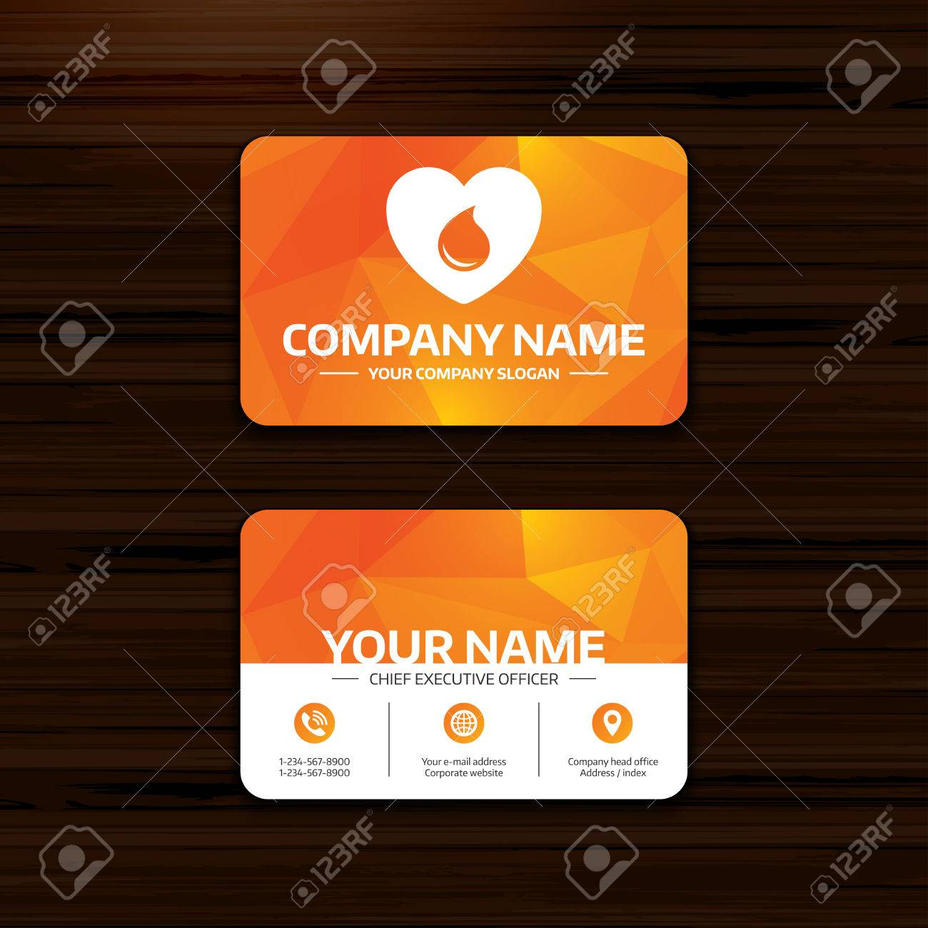 Business Or Visiting Card Template. Blood Donation Sign Icon ...