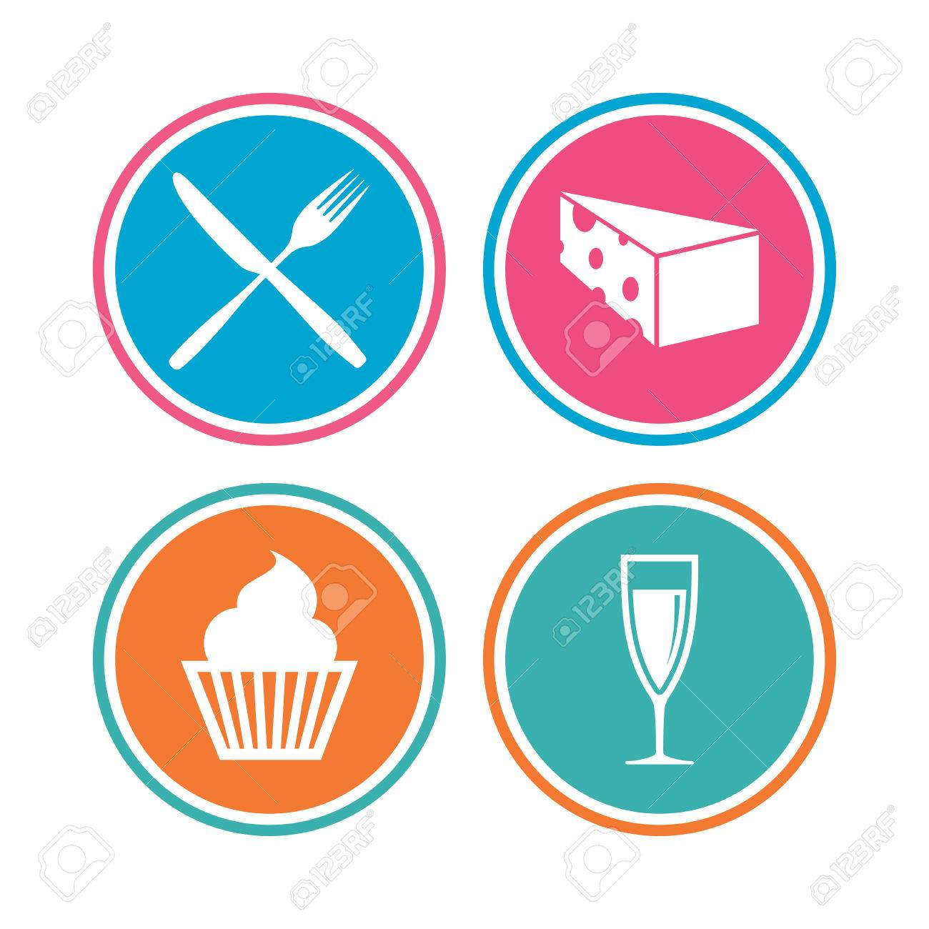Food Icons Muffin Cupcake Symbol Fork And Knife Sign Glass Of