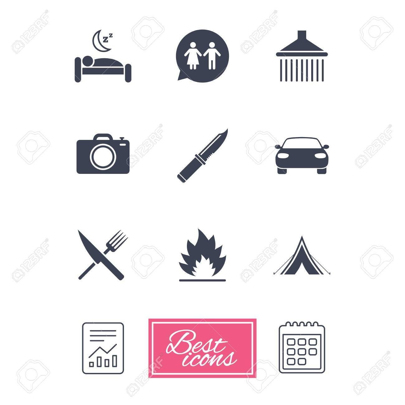 Hiking Trip Icons. Camping, Shower And Wc Toilet Signs. Tourist ...