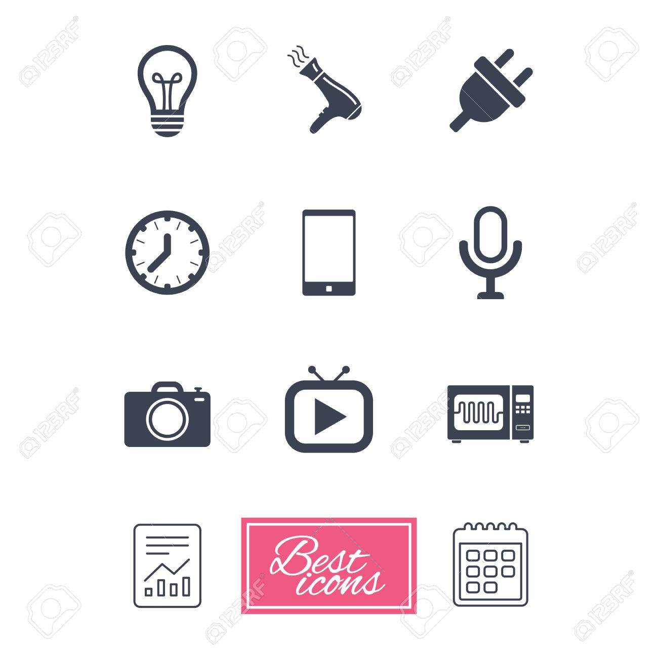 Home Appliances, Device Icons. Electronics Signs. Lamp, Electrical ...