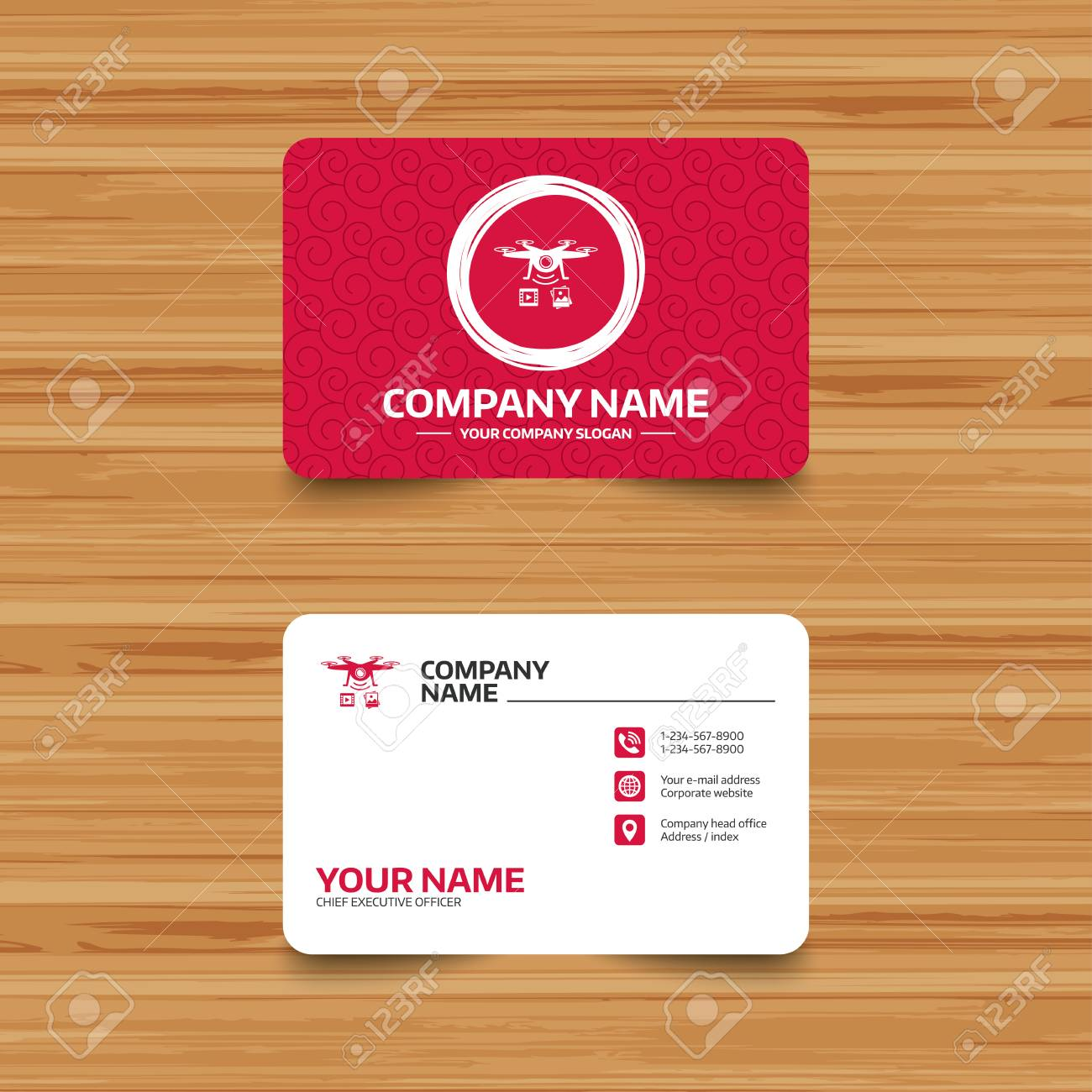 Business Card Template With Texture. Drone Icon. Quadrocopter ...
