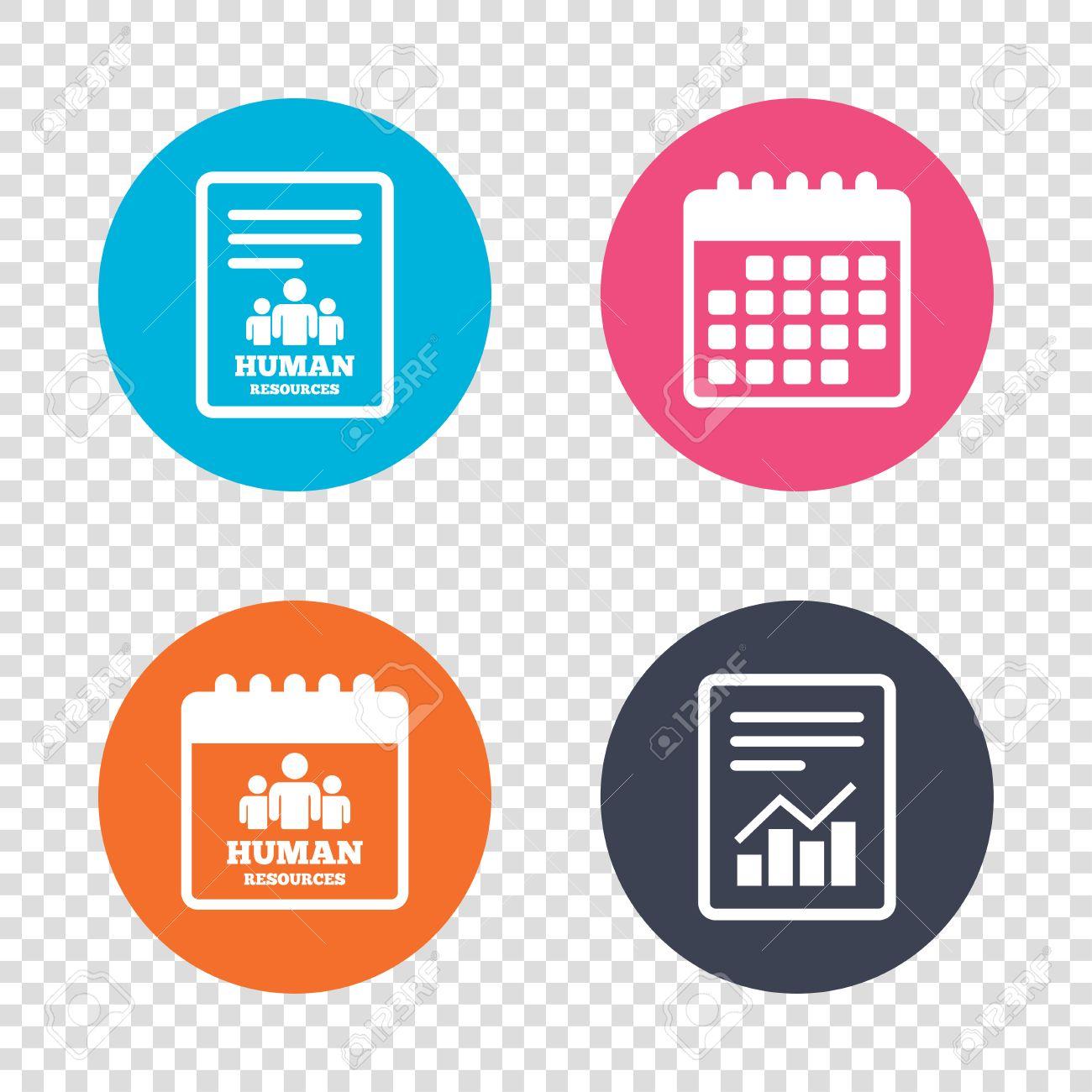 Report Document, Calendar Icons. Human Resources Sign Icon. HR Symbol.  Workforce Of