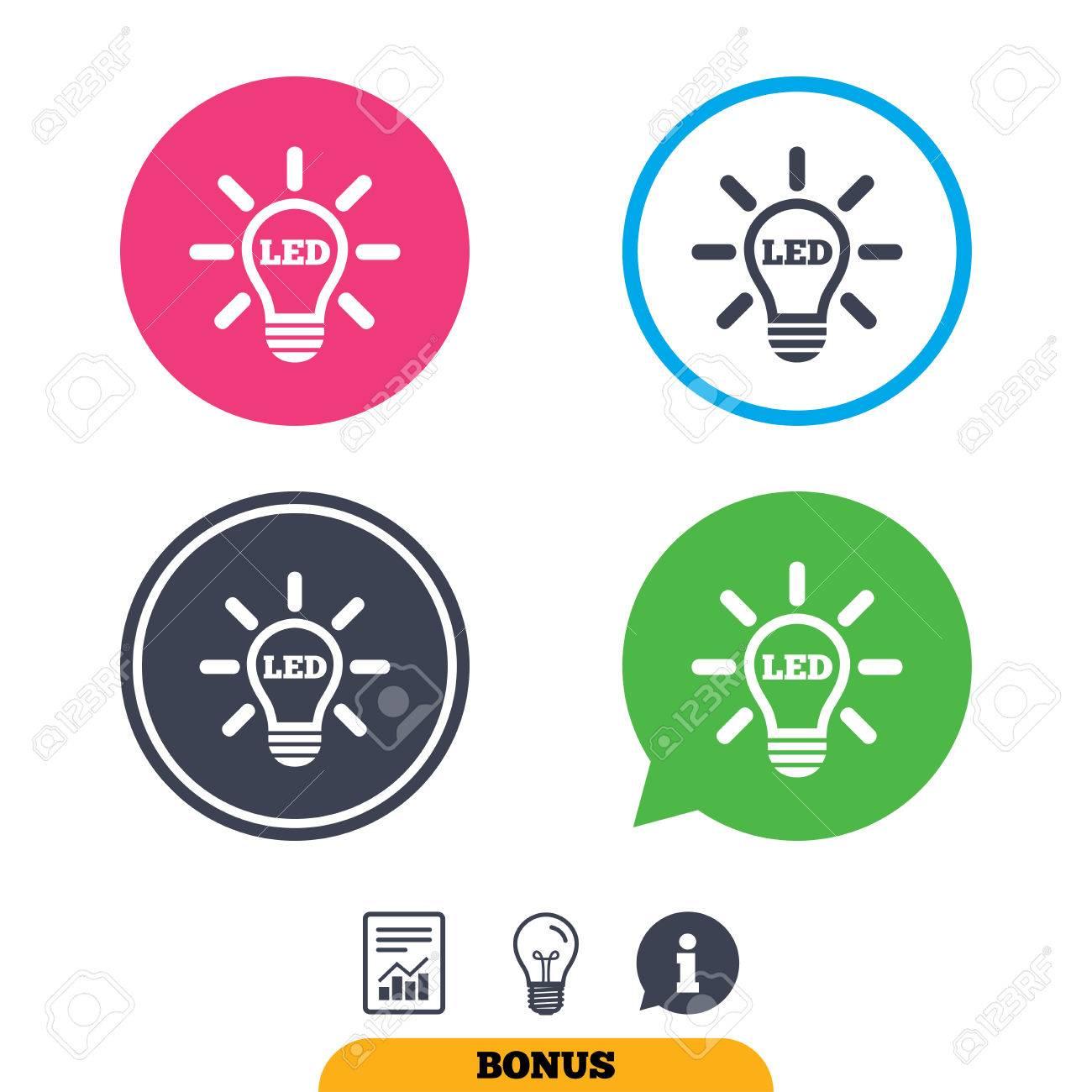Led Light Lamp Icon. Energy Symbol. Report Document, Information ...