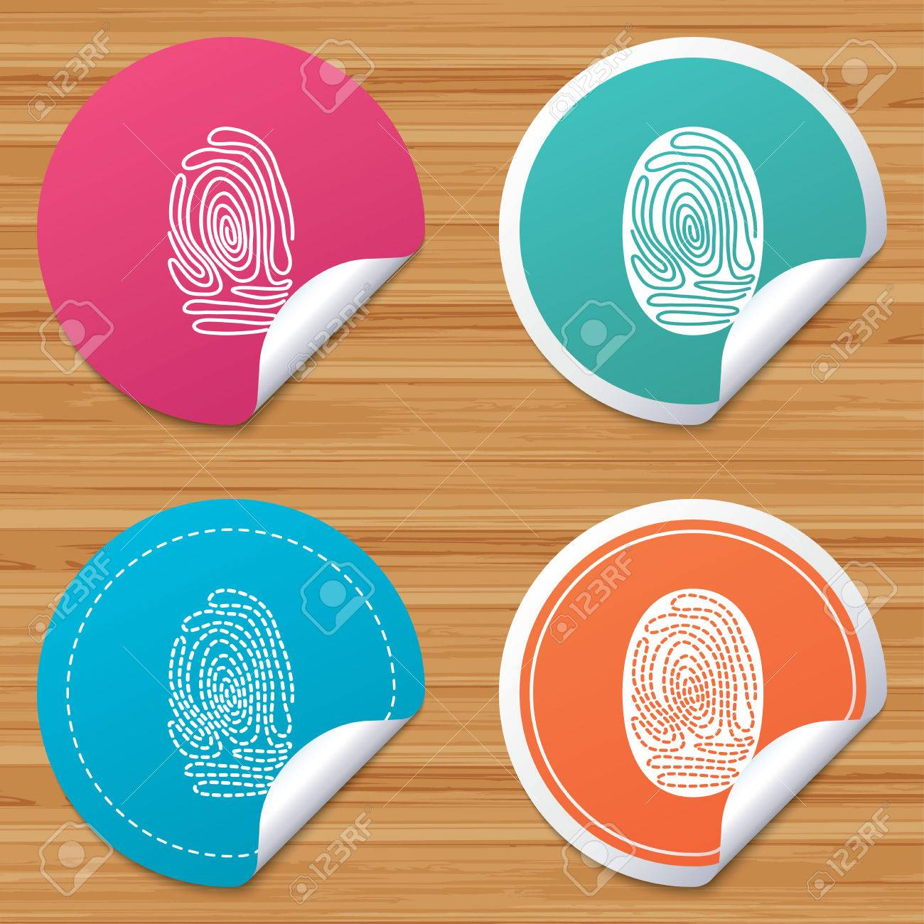 Round stickers or website banners  Fingerprint icons  Identification
