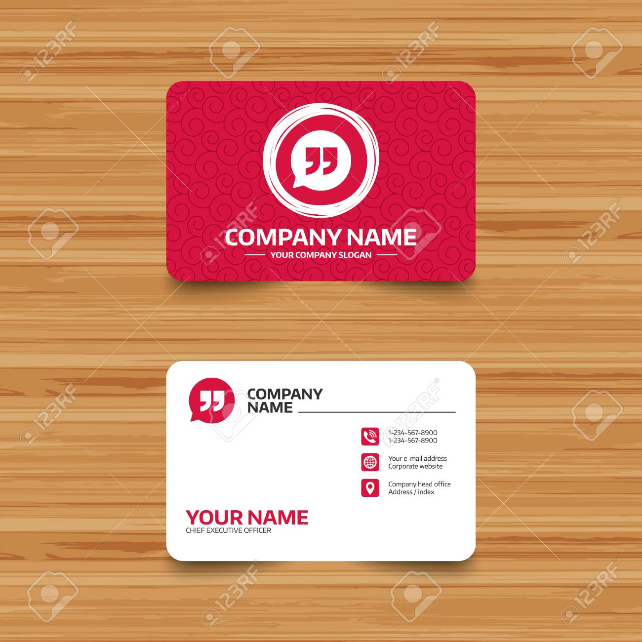 Business card template with texture quote sign icon quotation business card template with texture quote sign icon quotation mark in speech bubble symbol reheart Images