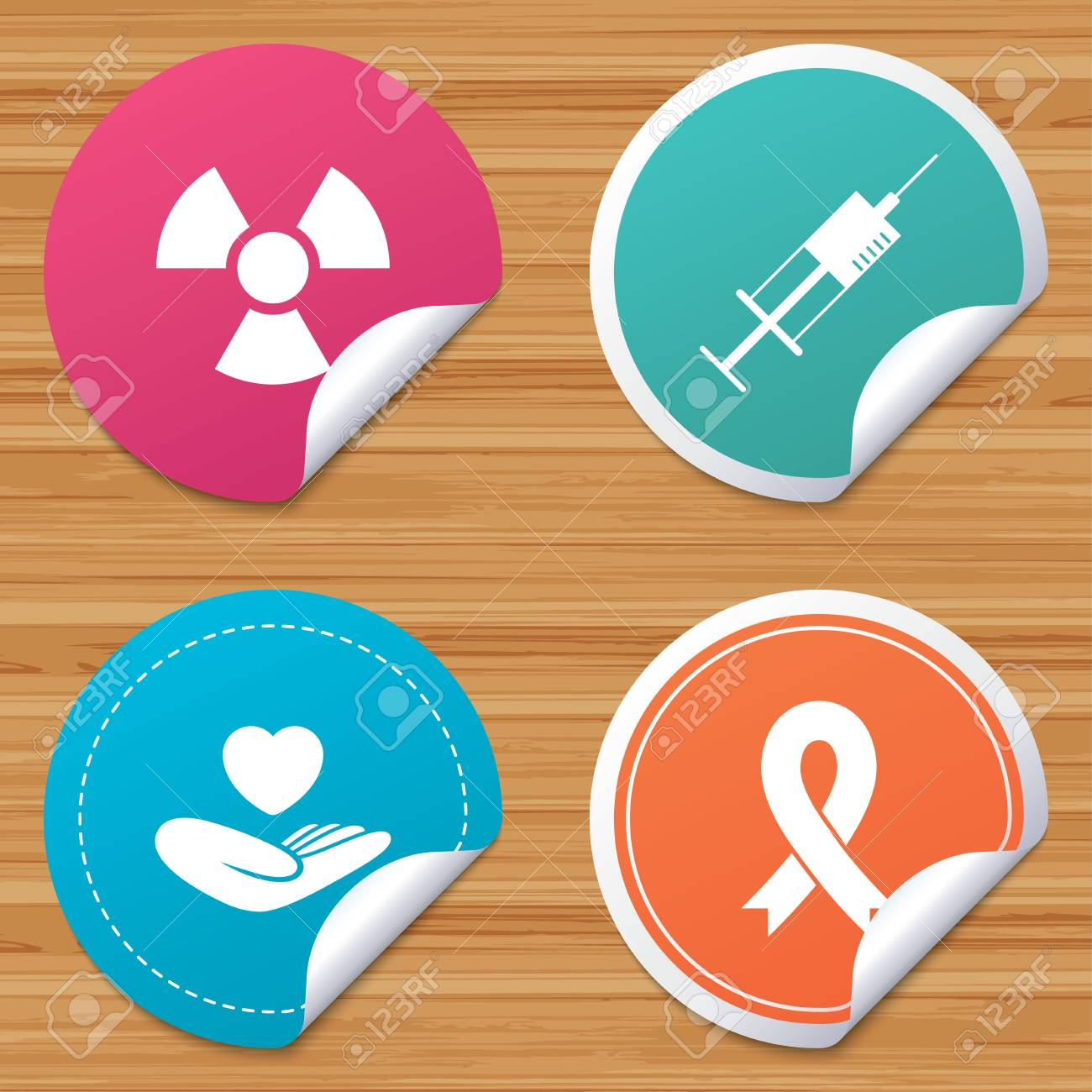 ea22833e296 Round stickers or website banners. Medicine icons. Syringe, life insurance,  radiation and