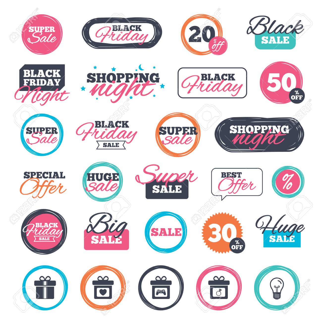 Sale shopping stickers and banners gift box sign icons present