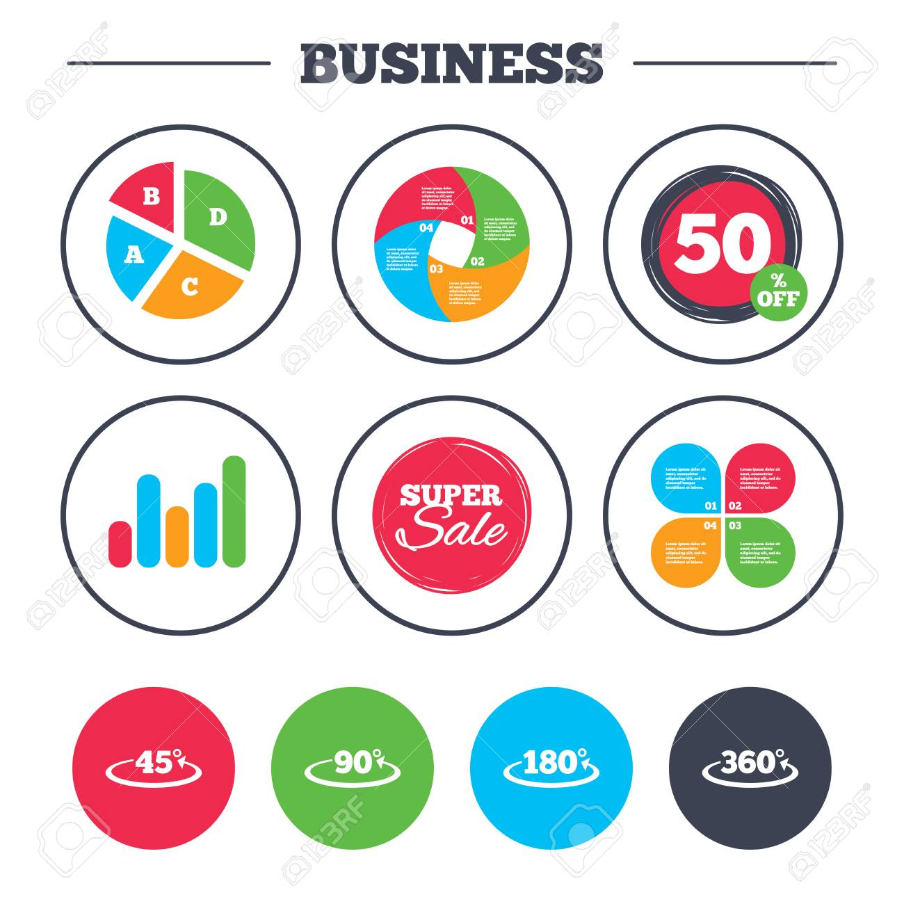 Business pie chart growth graph angle 45 360 degrees icons business pie chart growth graph angle 45 360 degrees icons geometry math nvjuhfo Gallery