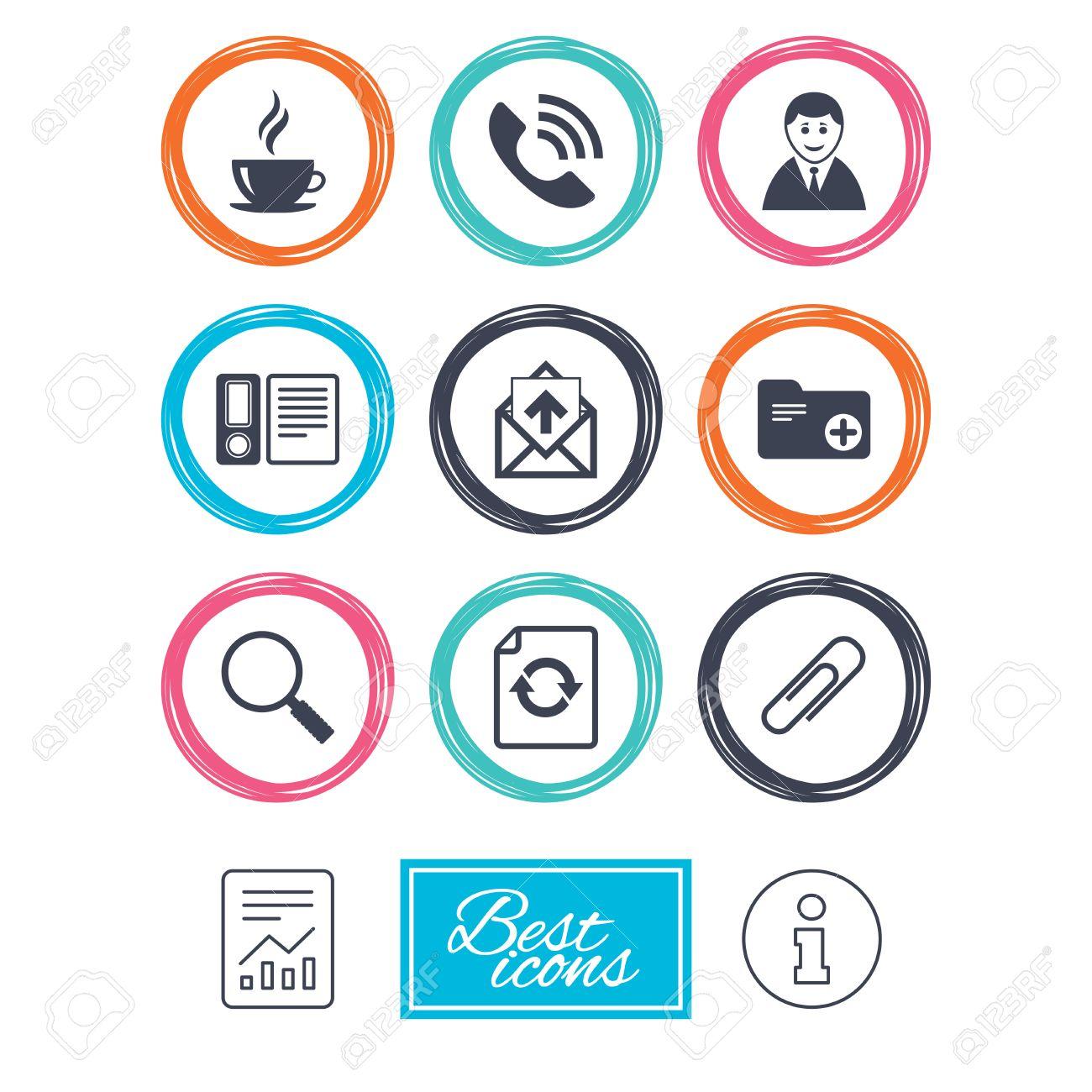 Office, documenti e icone del mondo  Caffè, telefonata e uomo d'affari  firma  spilla di sicurezza, lente di ingrandimento e posta elettronica  simboli