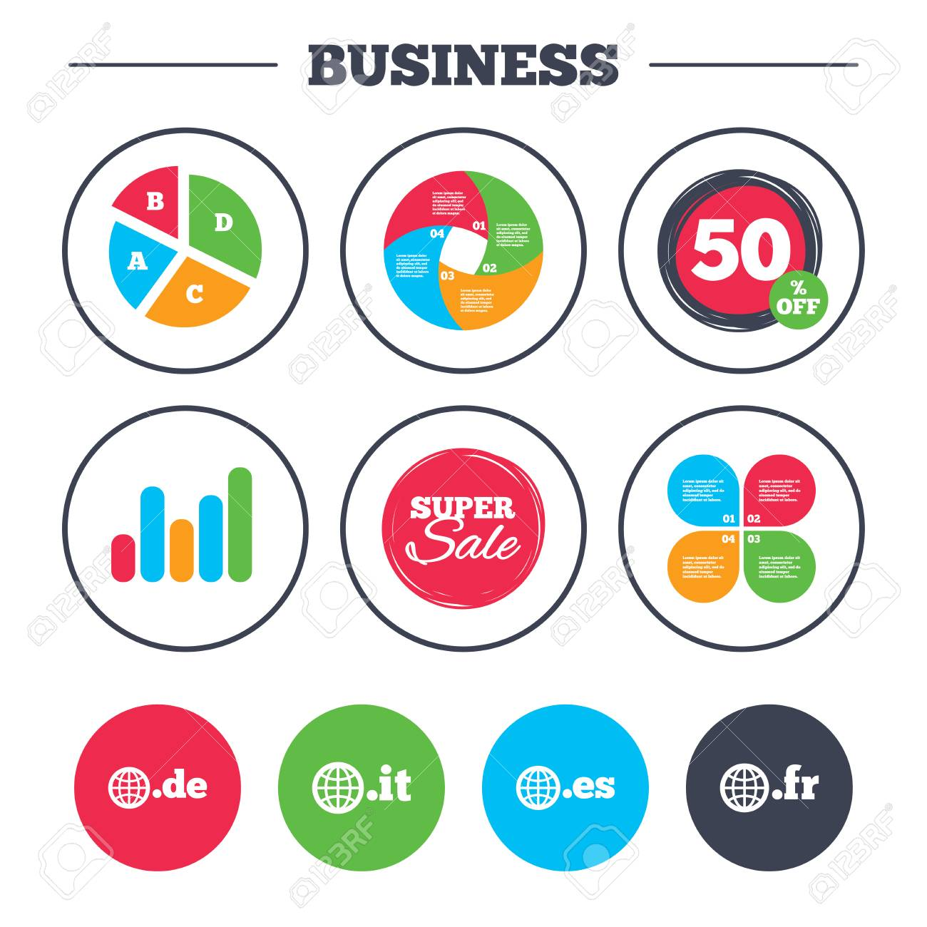 Business pie chart growth graph top level internet domain icons business pie chart growth graph top level internet domain icons de geenschuldenfo Gallery